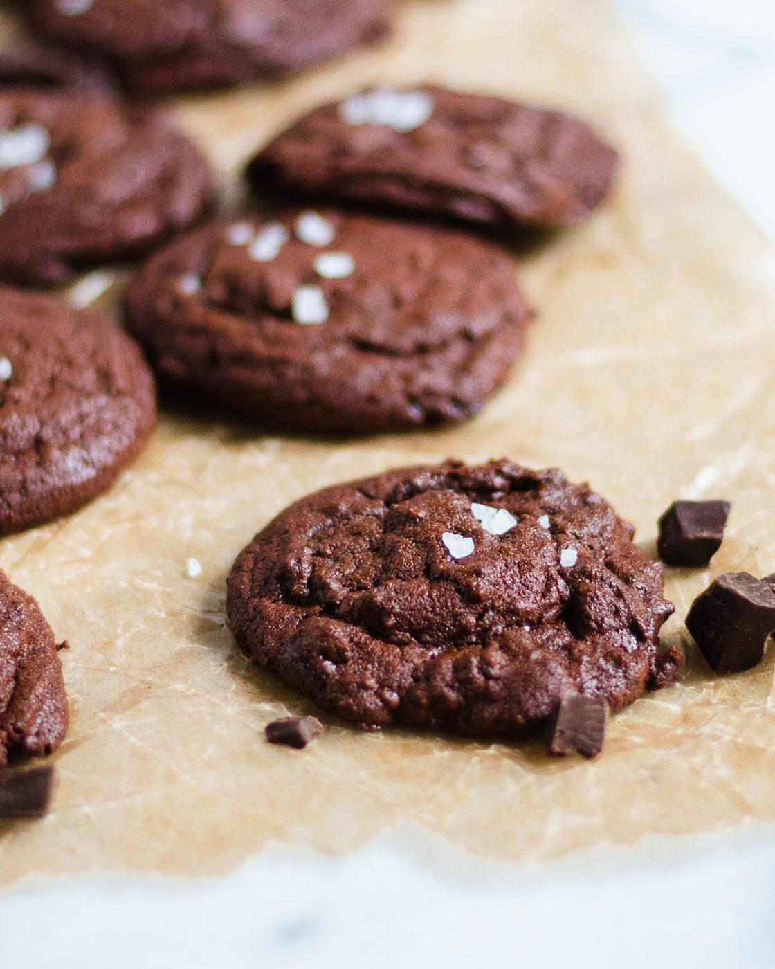 paleo brownie cookies on parchment paper