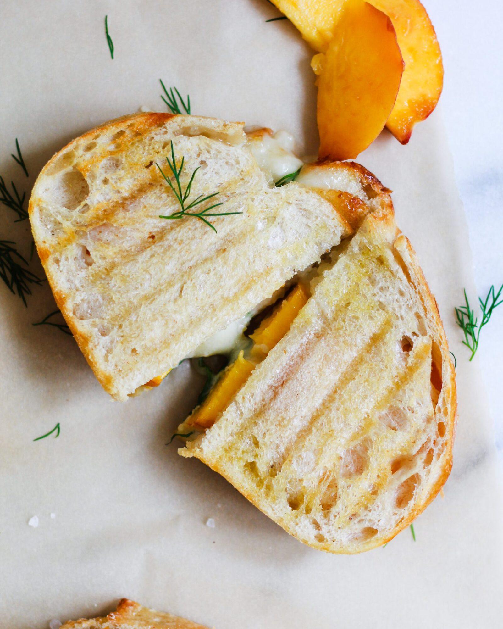 sliced brie peach grilled cheese sandwich