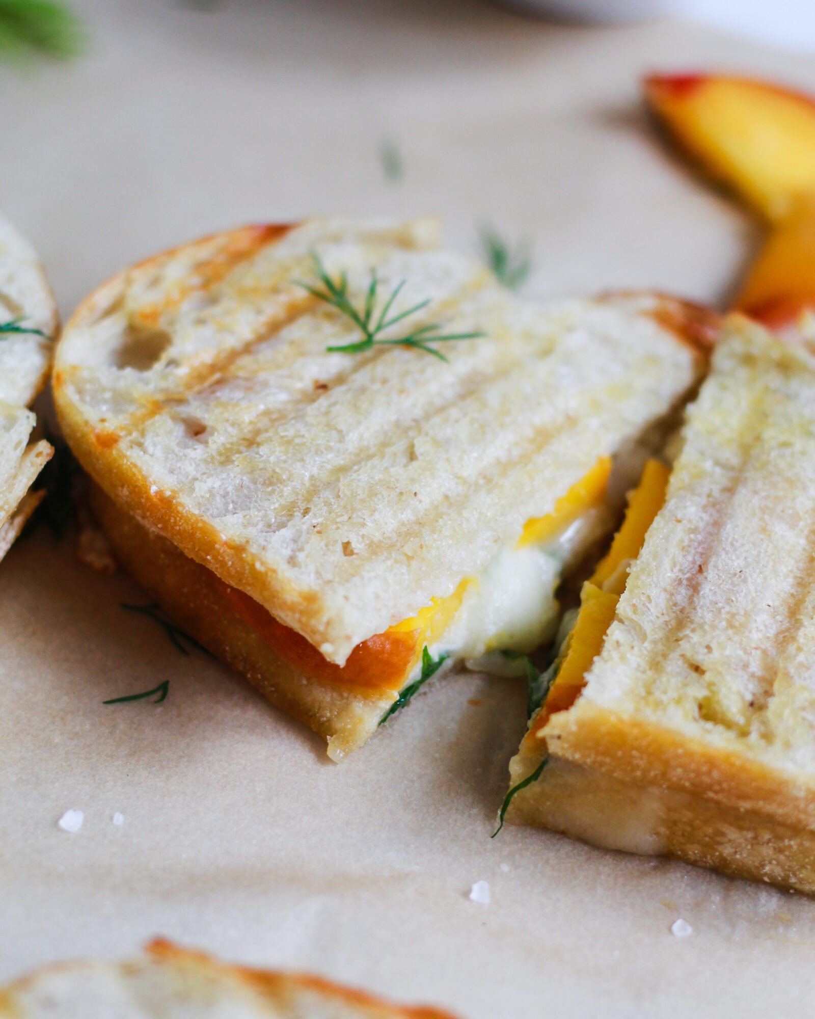 grilled cheese pulled apart