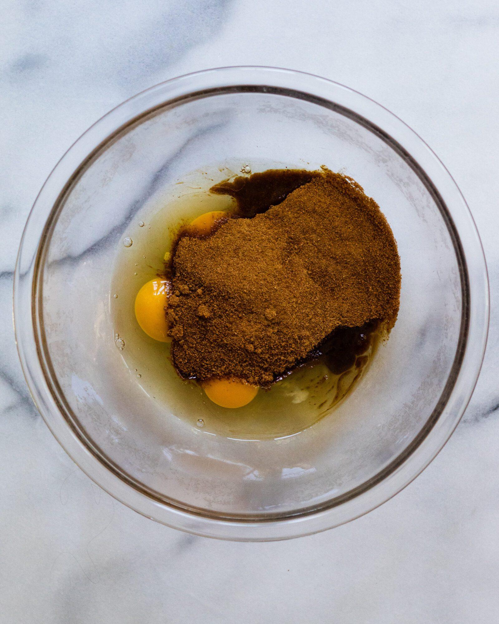 homemade brownies ingredients in a bowl