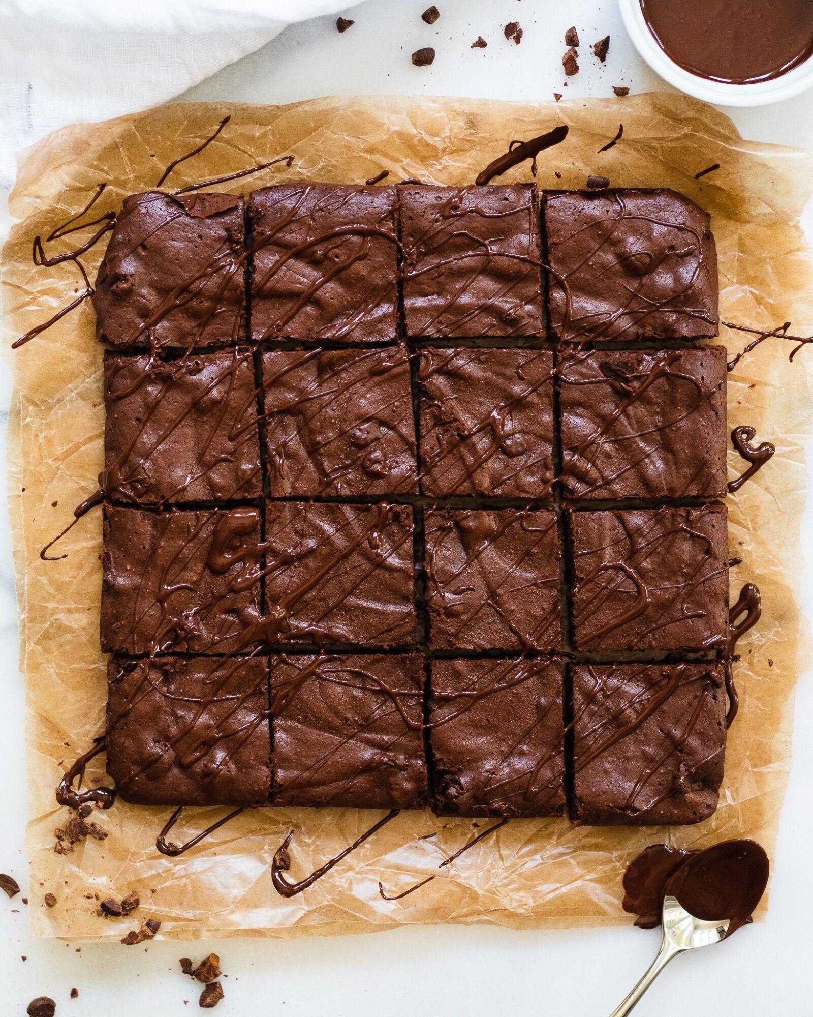 paleo fudge brownies on wax paper