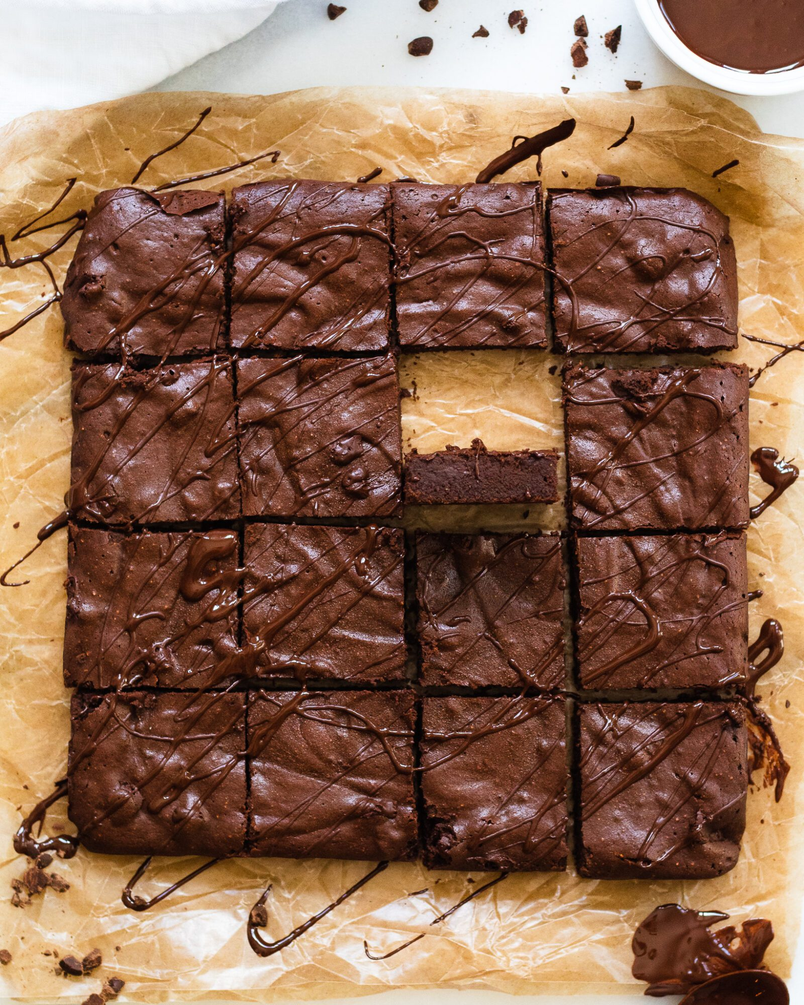 one brownie turned up in square of brownies