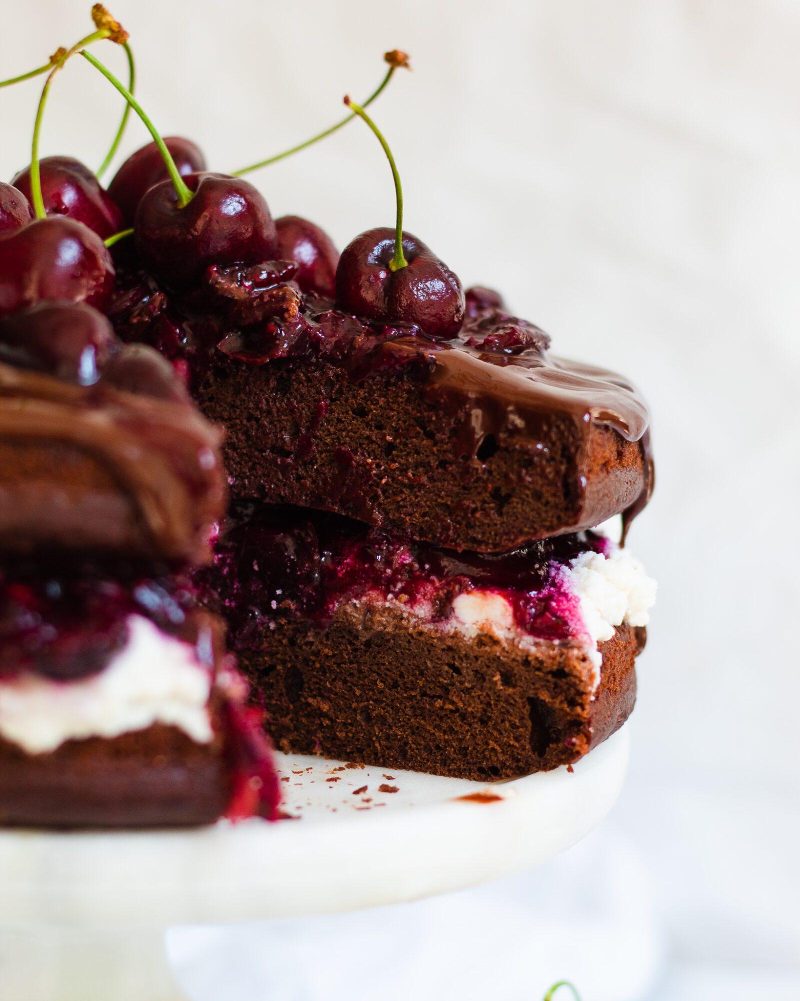 close up of sliced black forest cake