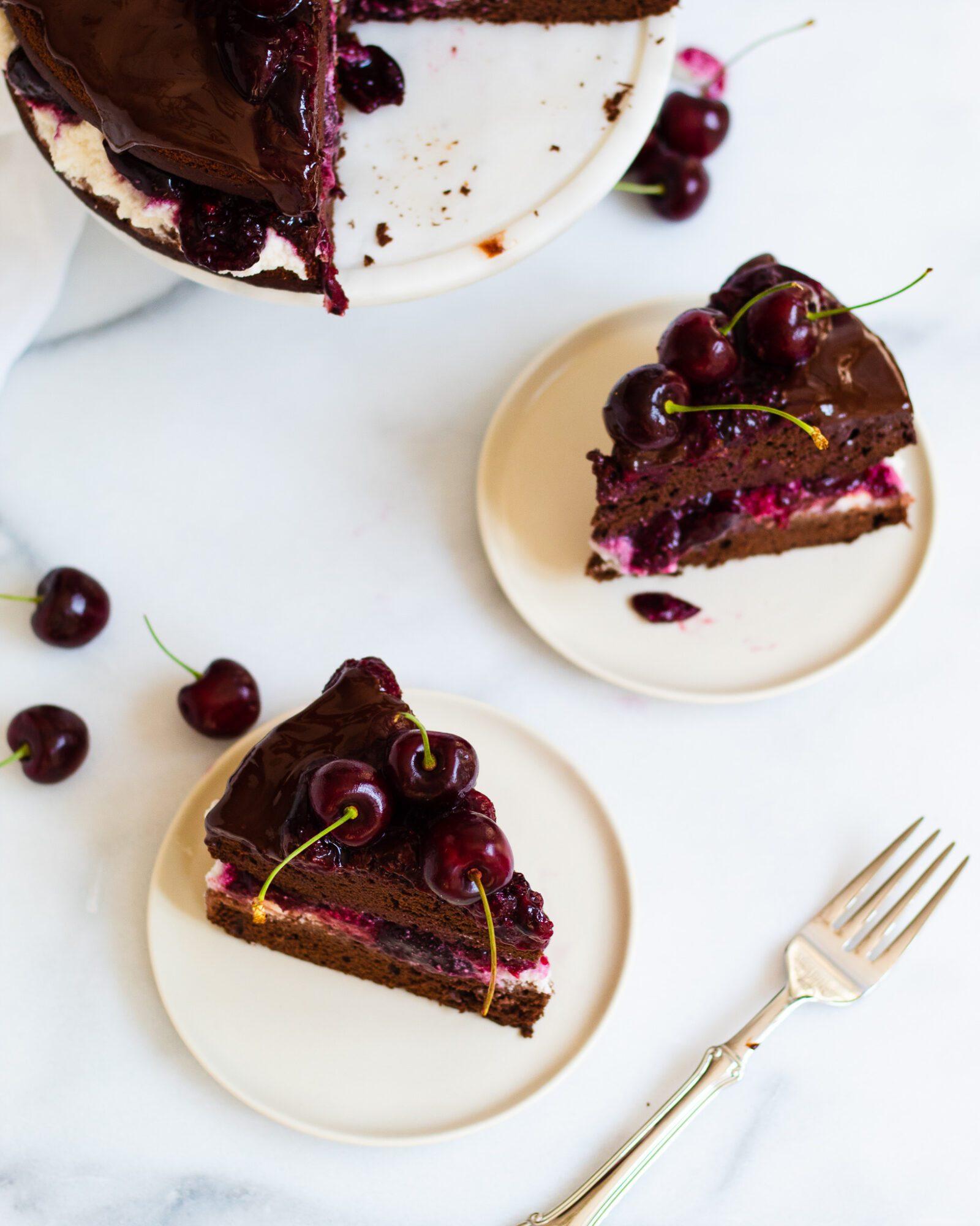 slices of vegan black forest cake on plates