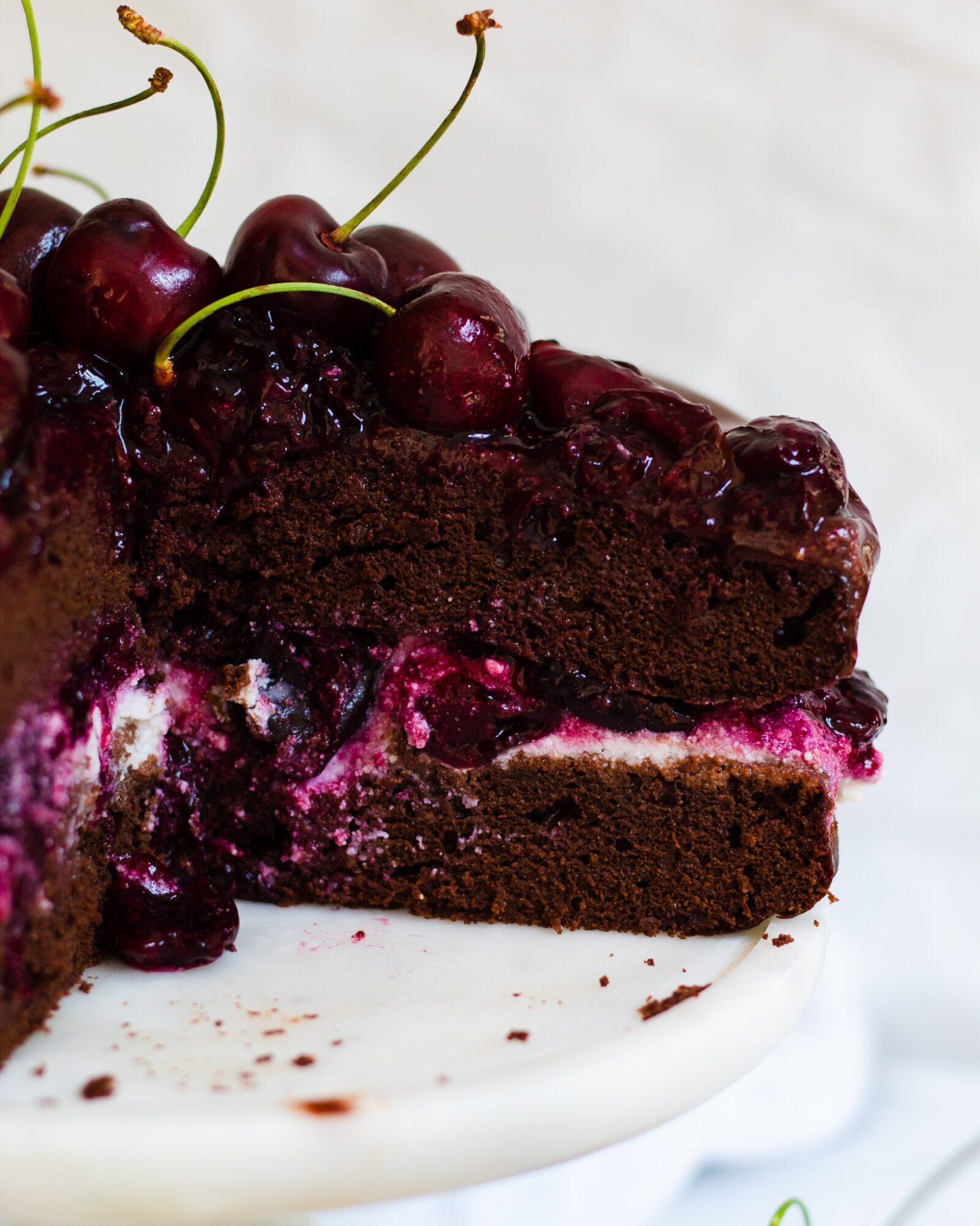 sliced vegan chocolate cherry cake