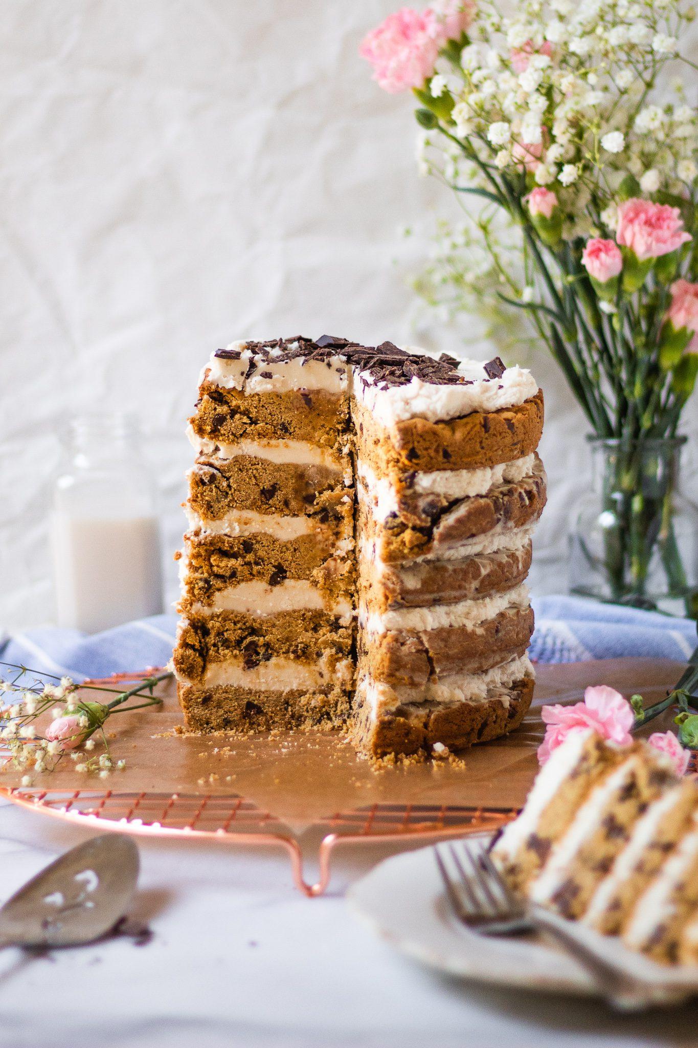 The BEST Chocolate Chip Cookie Layer Cake (Vegan, Gluten Free)