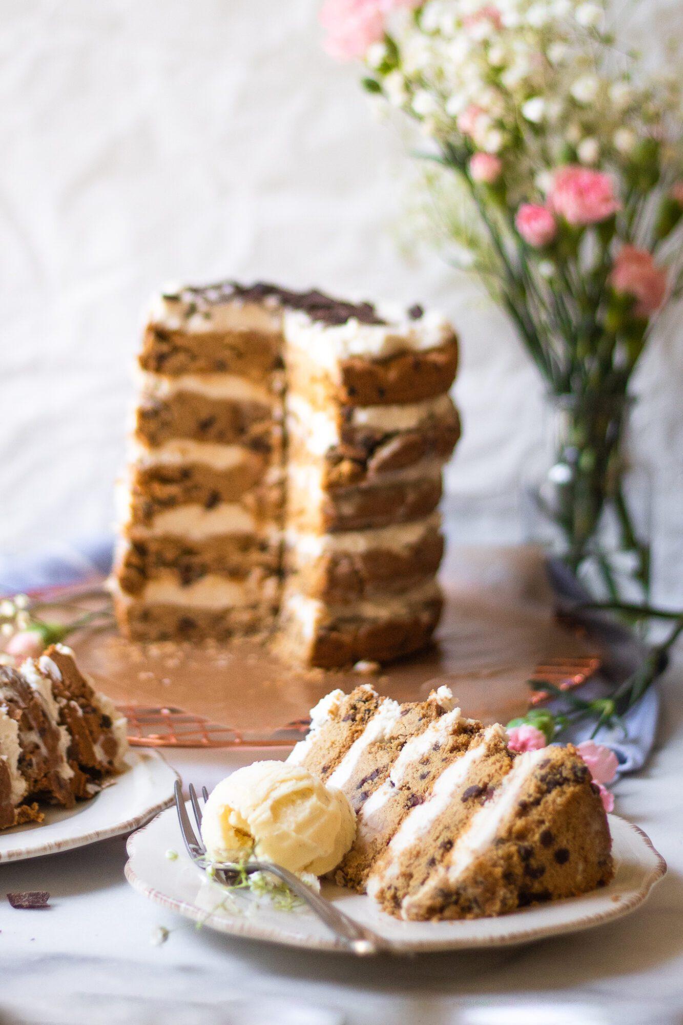 focus on slice of cookie cake