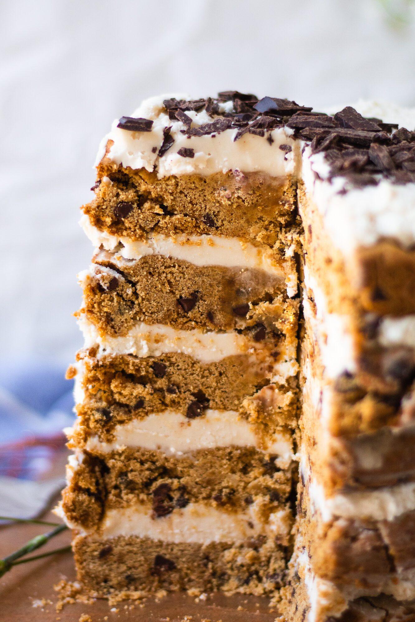close up of chocolate chip vegan cookie cake