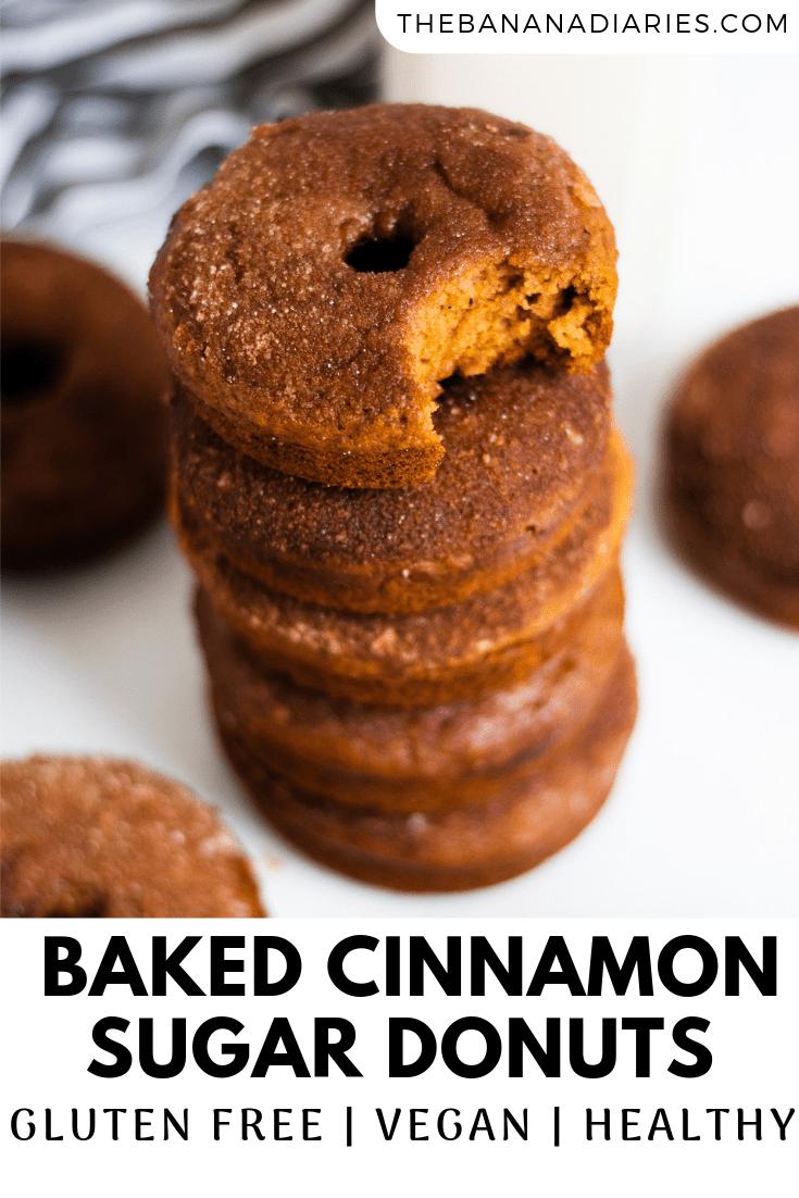pinterest image for cinnamon sugar donuts vegan
