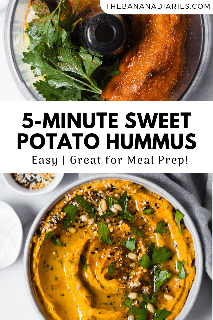 pinterest image for sweet potato hummus