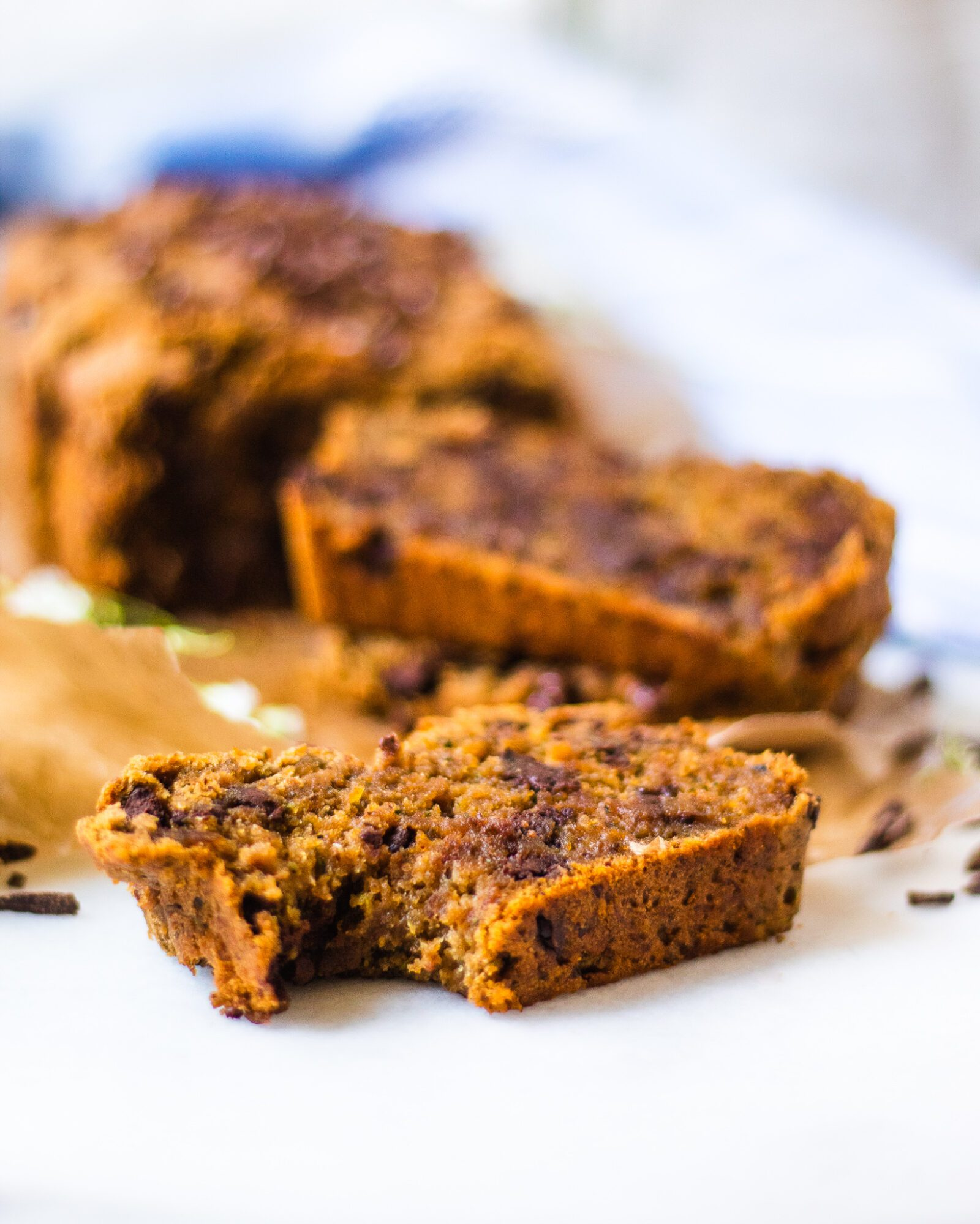 bite take from chocolate chip zucchini bread