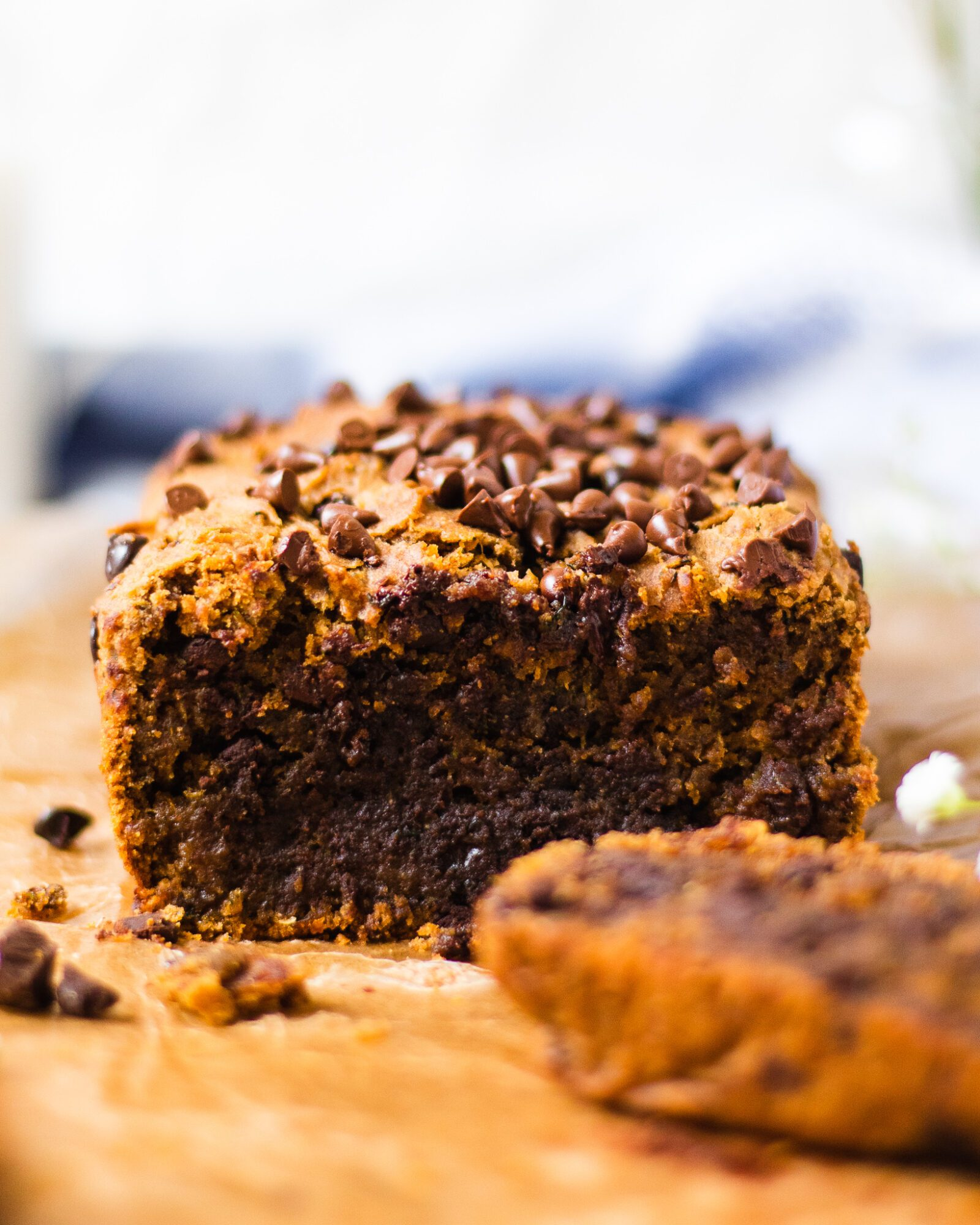 sliced chocolate chip zucchini bread