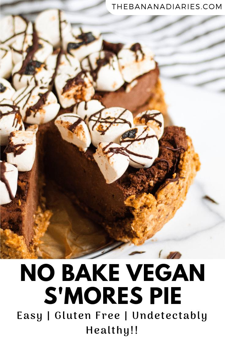 pinterest image for vegan s'mores pie