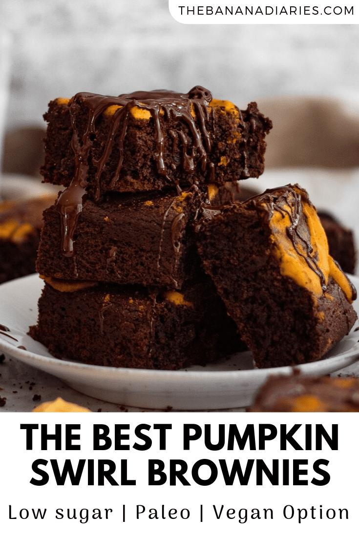 pinterest pin for vegan pumpkin brownies
