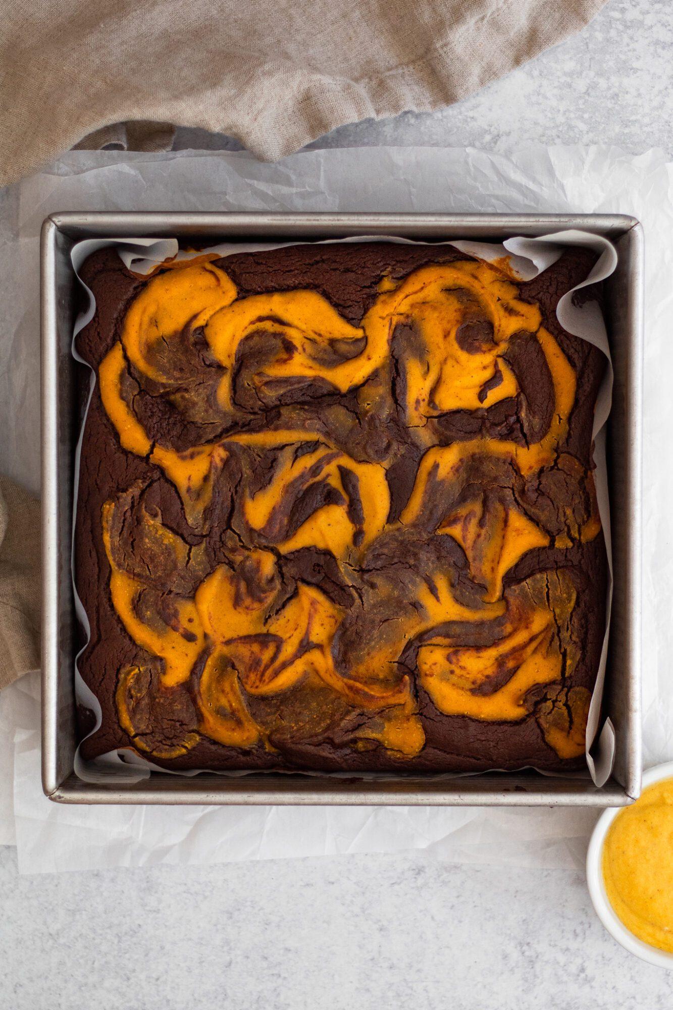 baked pumpkin swirl brownies
