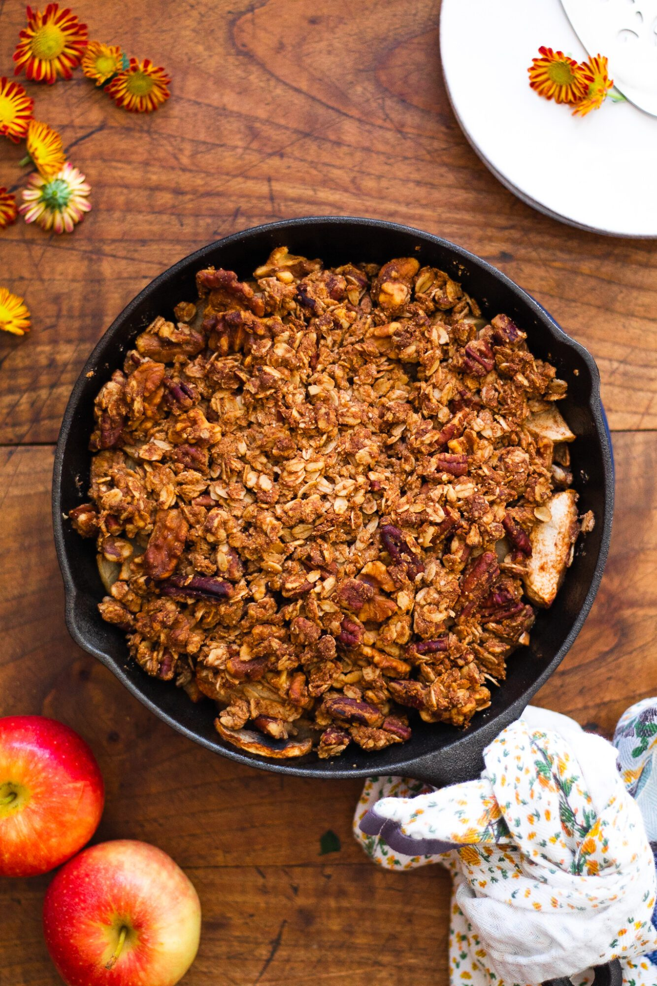 apple crisp out of the oven