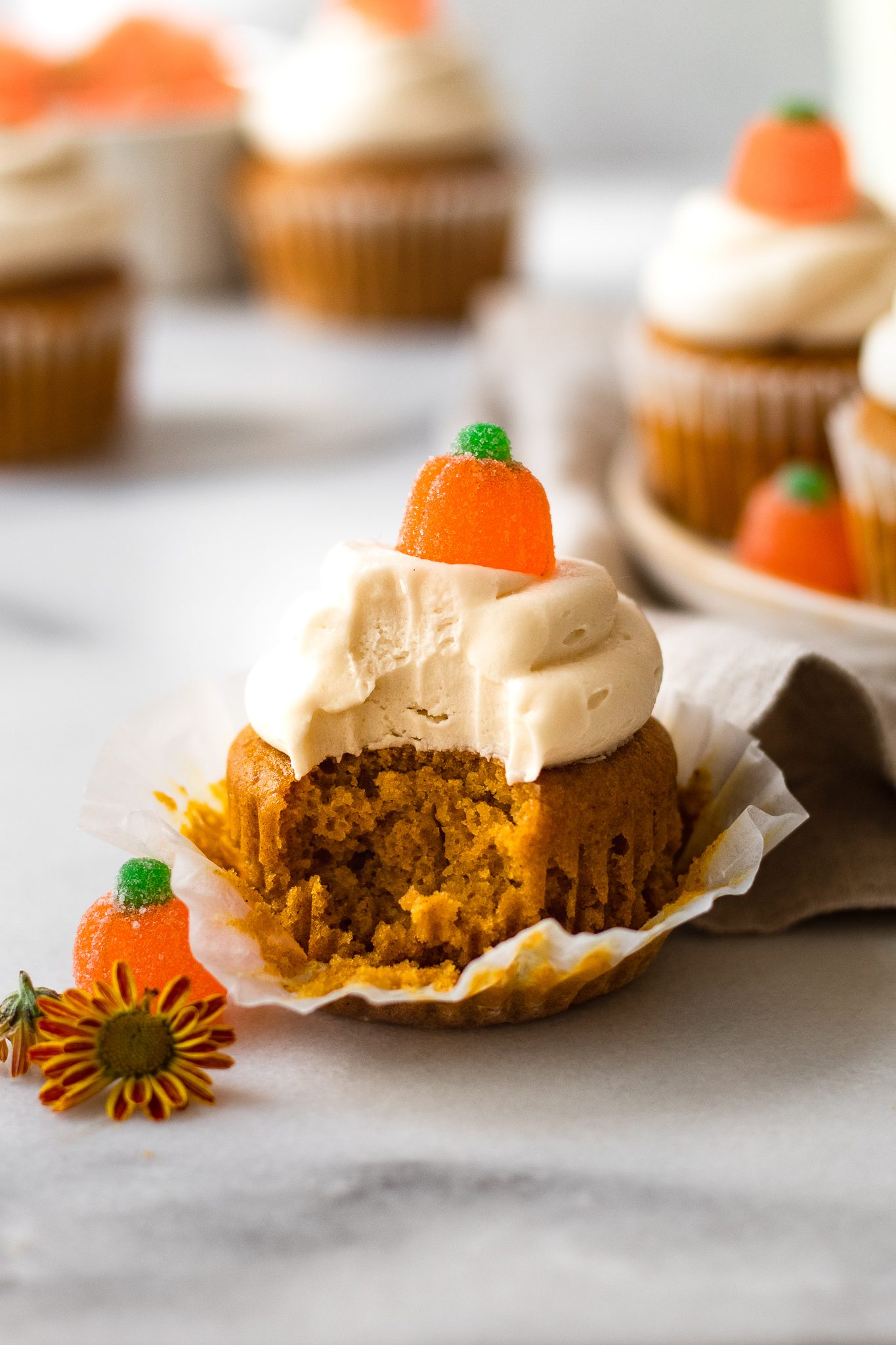 Healthy Pumpkin Cupcakes with Cream Cheese Frosting