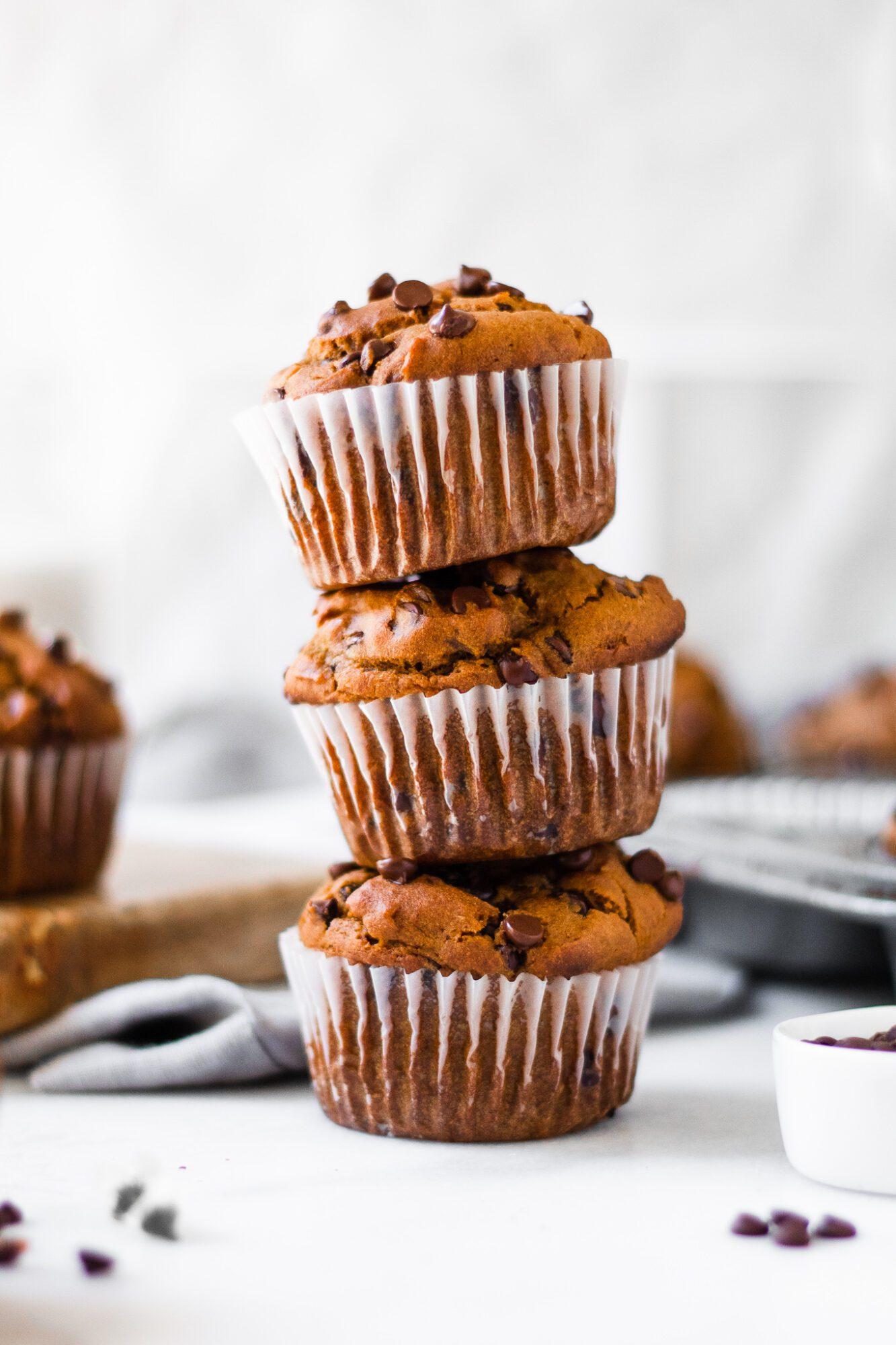 stacked pumpkin muffin