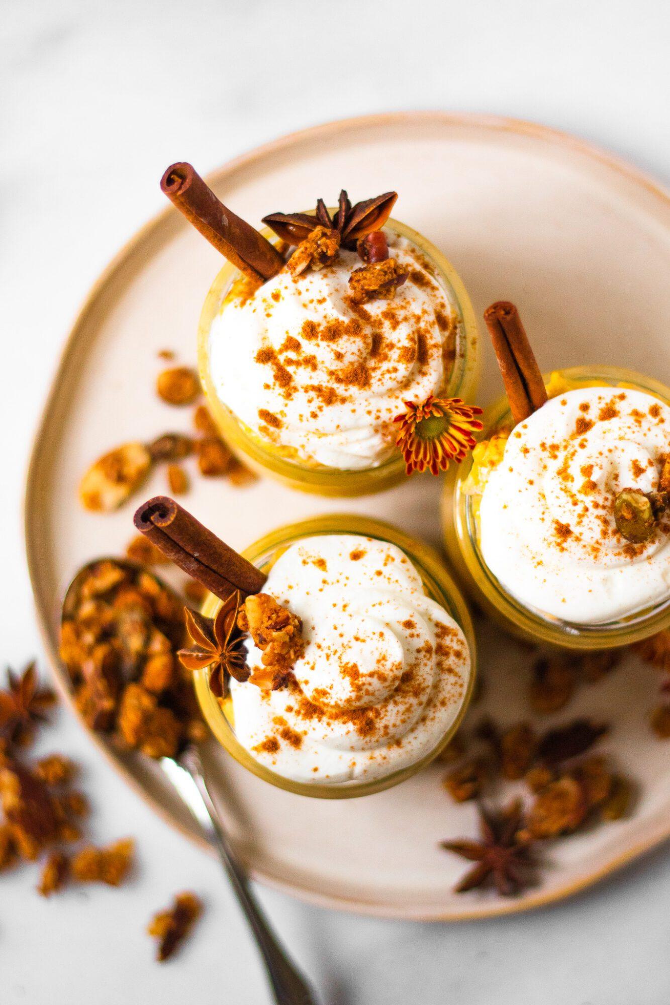 overhead of healthy pumpkin spice oats in jars