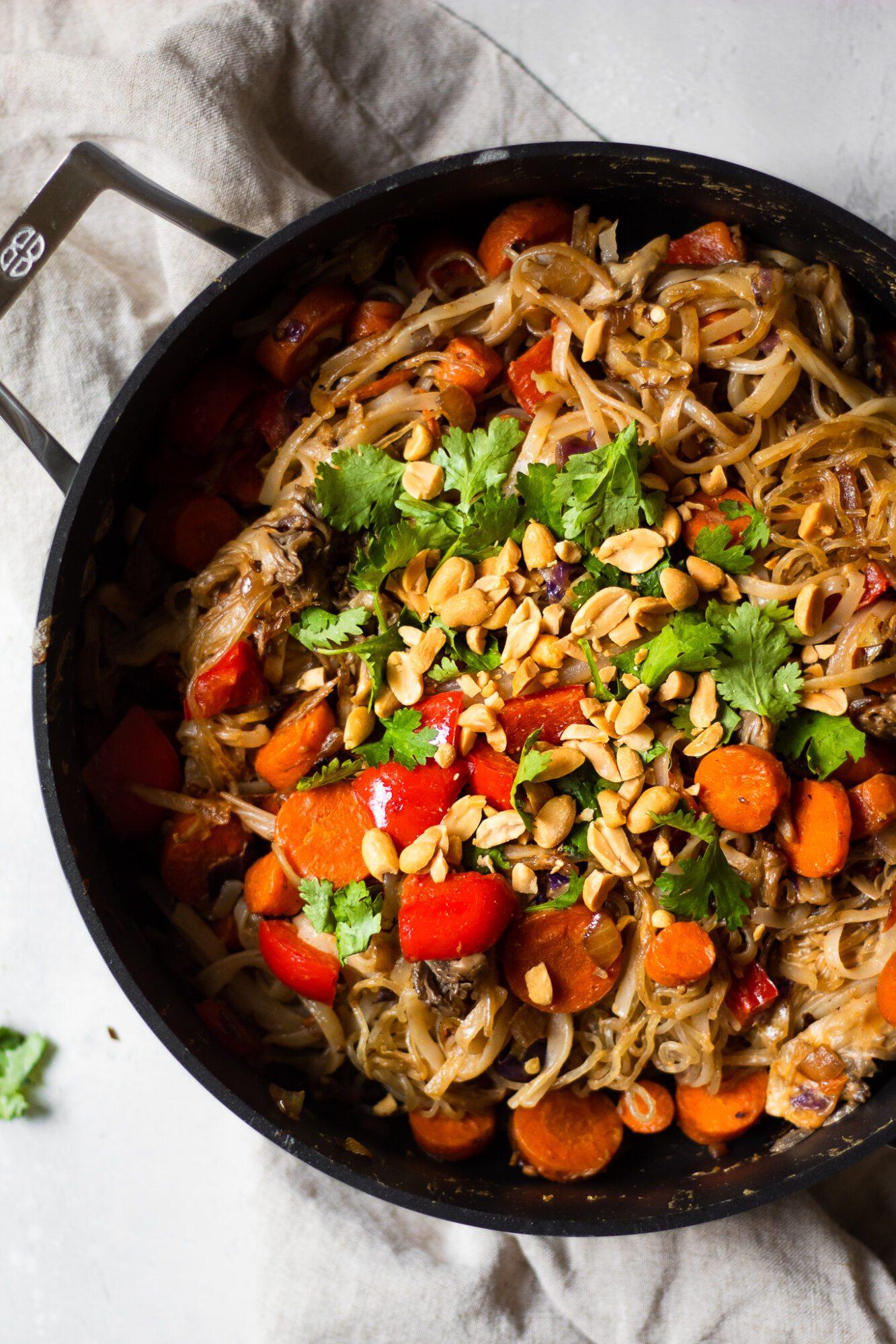 noodles in skillet