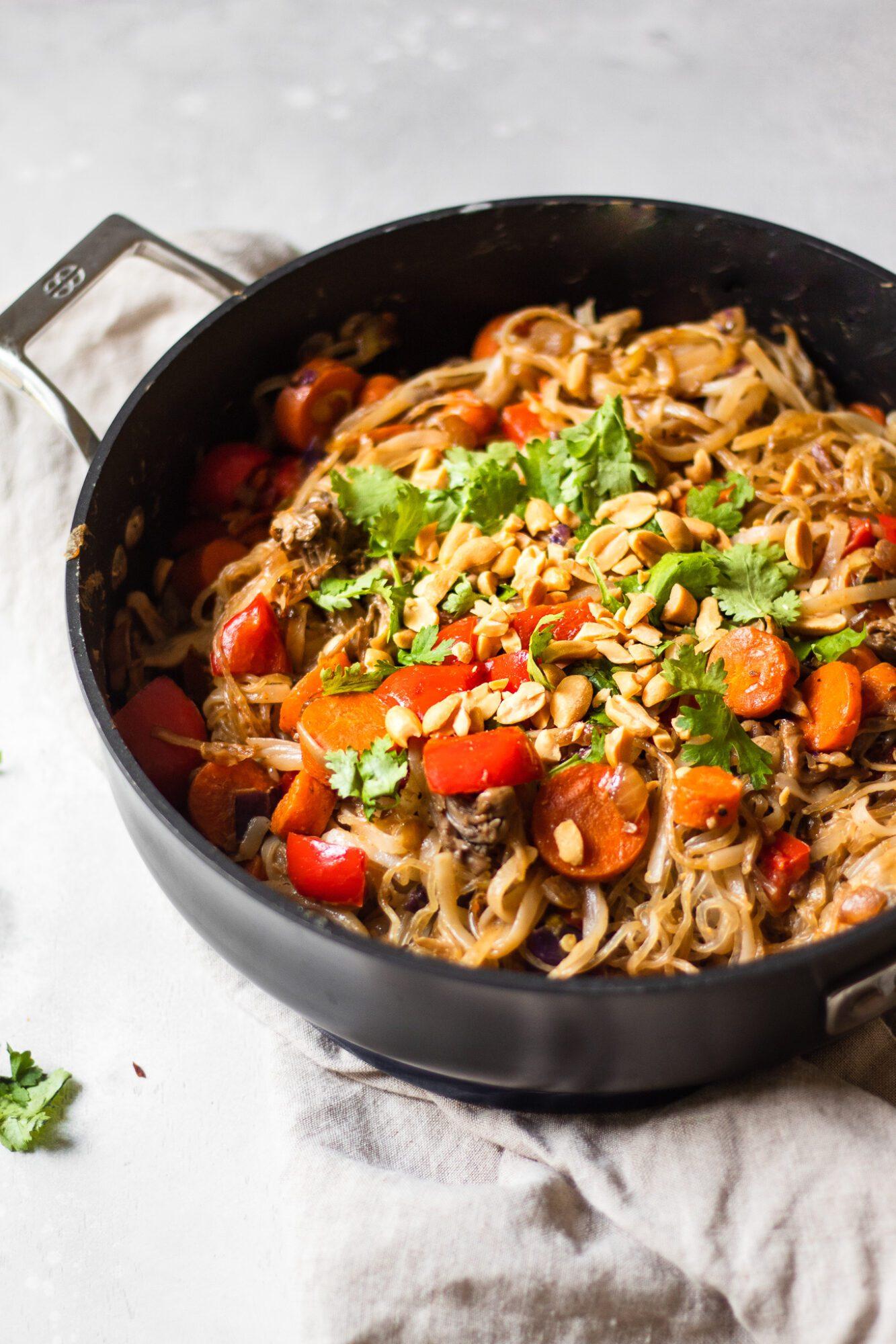 skillet of noodles