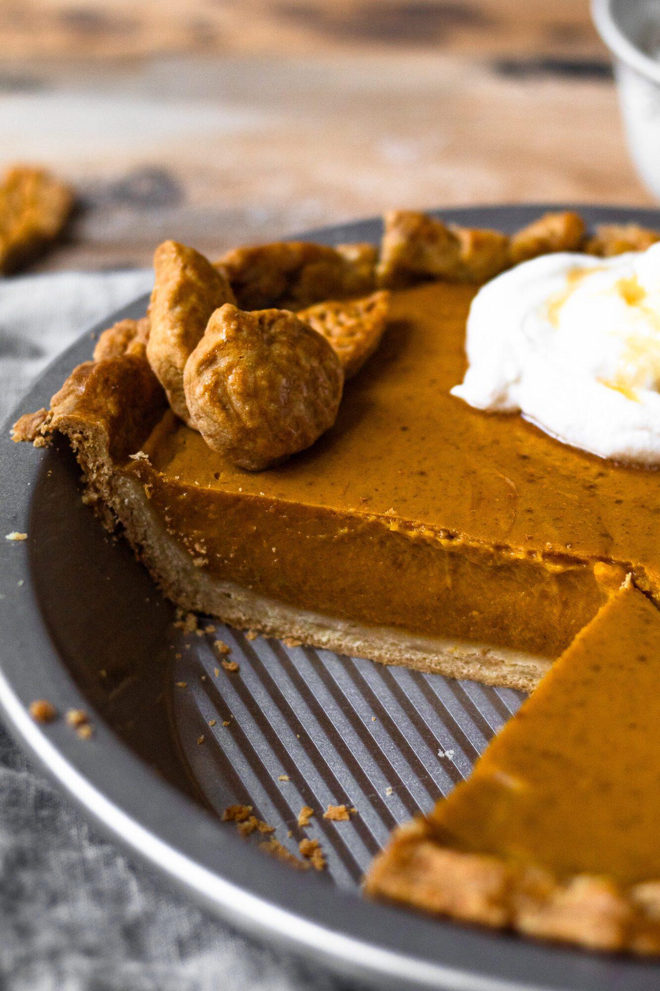 close up of pumpkin pie filling
