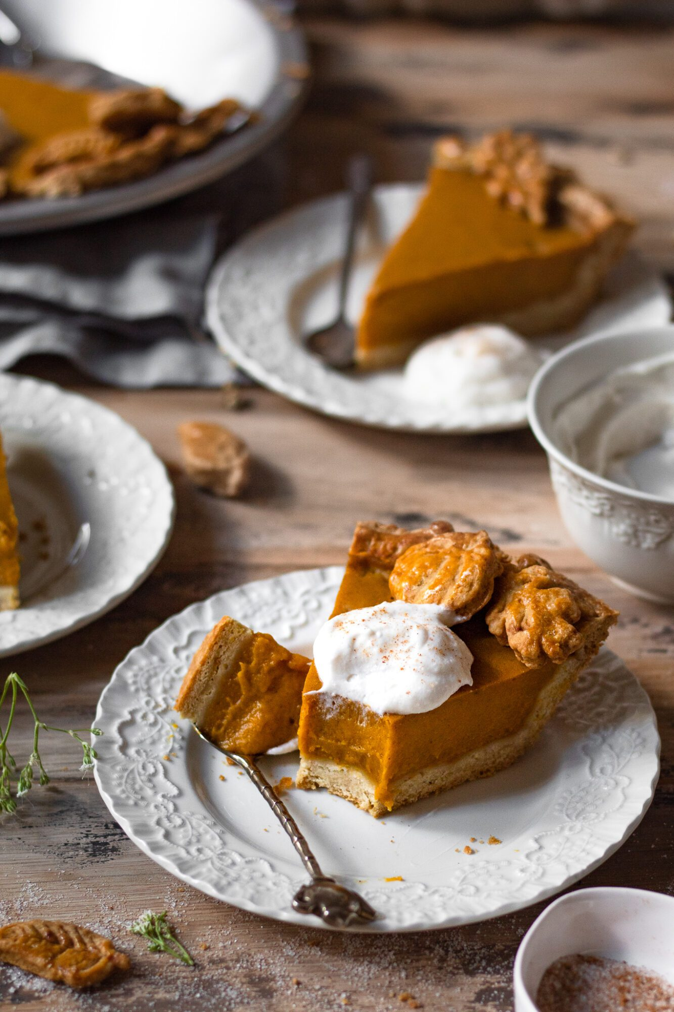 bite taken out of pumpkin pie