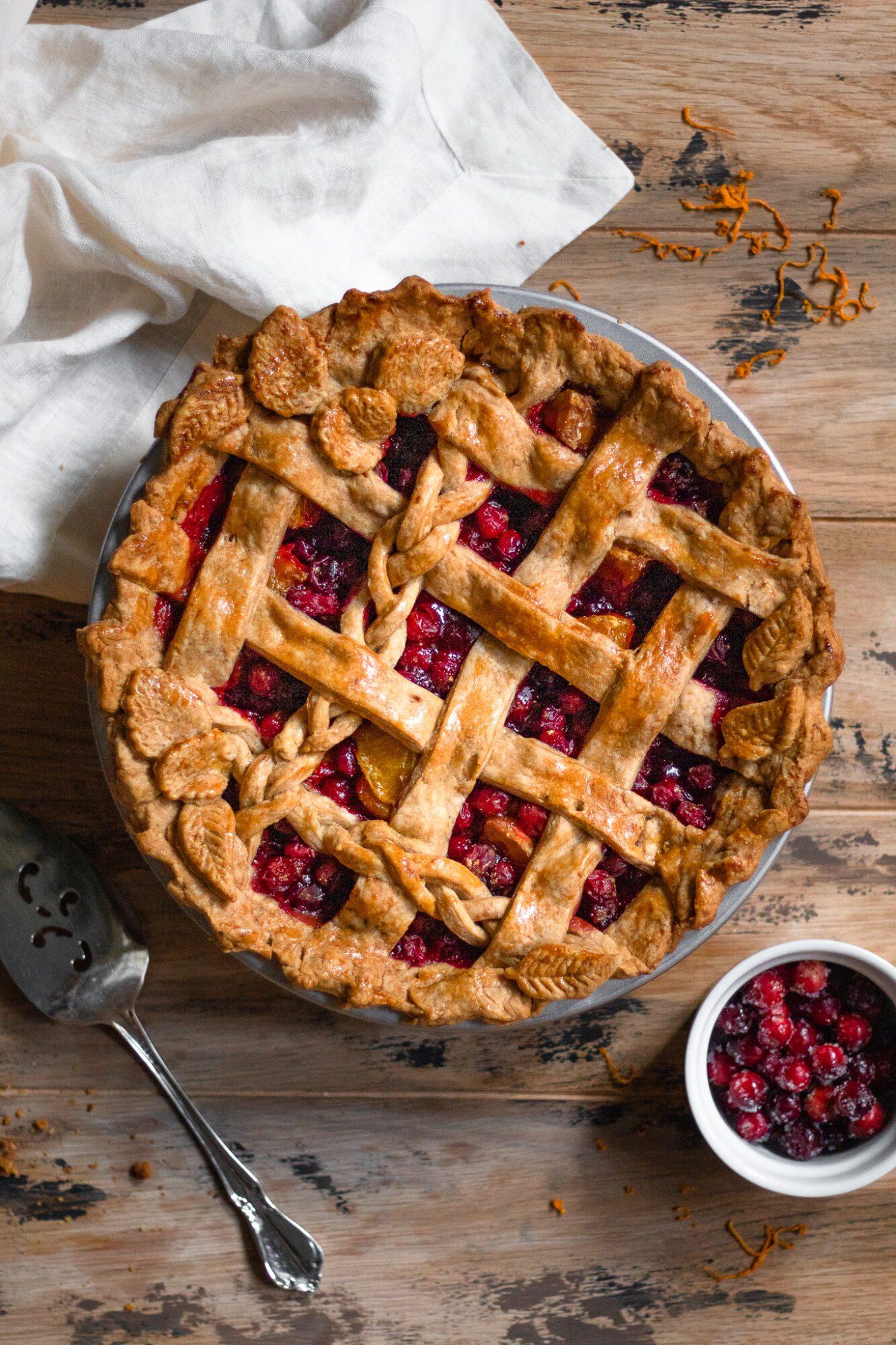 baked cranberry citrus pie with lattice crust