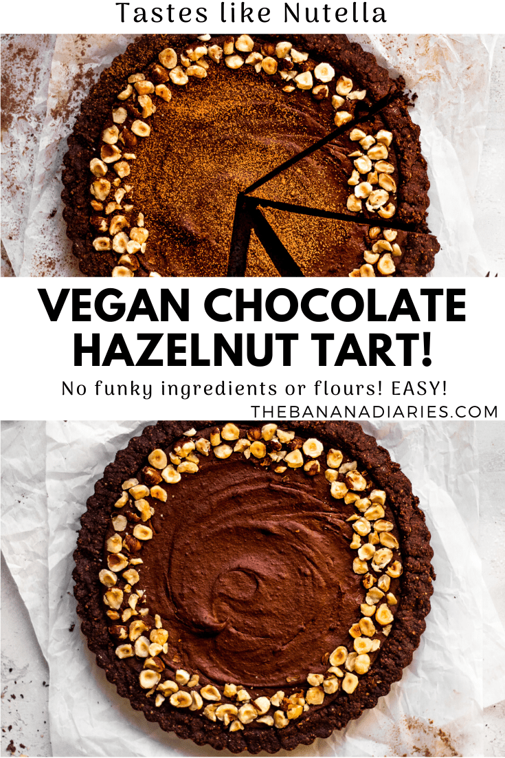 pinterest image for chocolate hazelnut tart