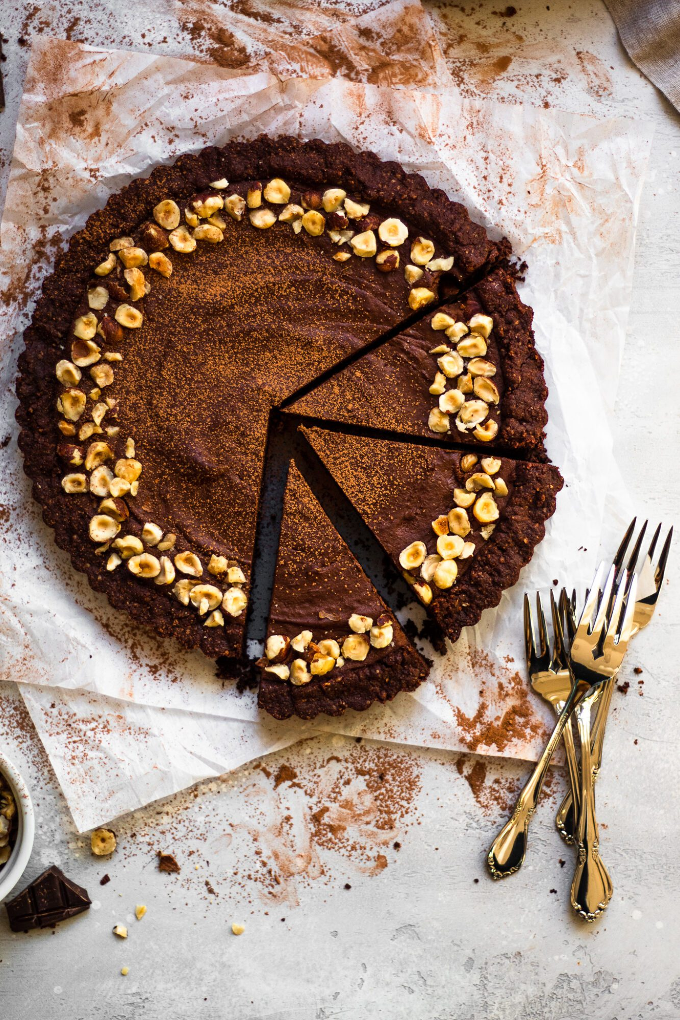 slices of chocolate hazelnut tart