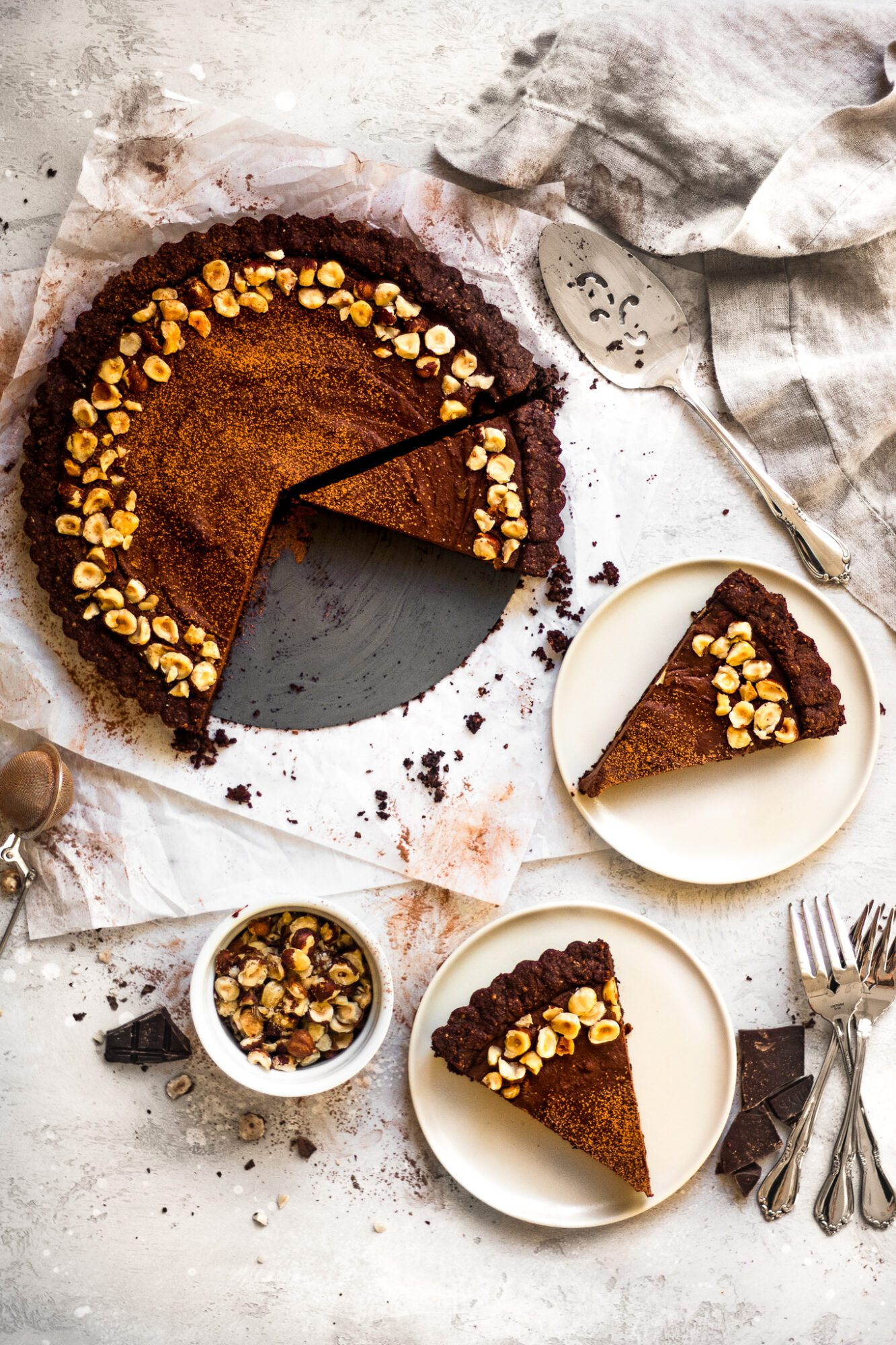 slices of chocolate tart on table