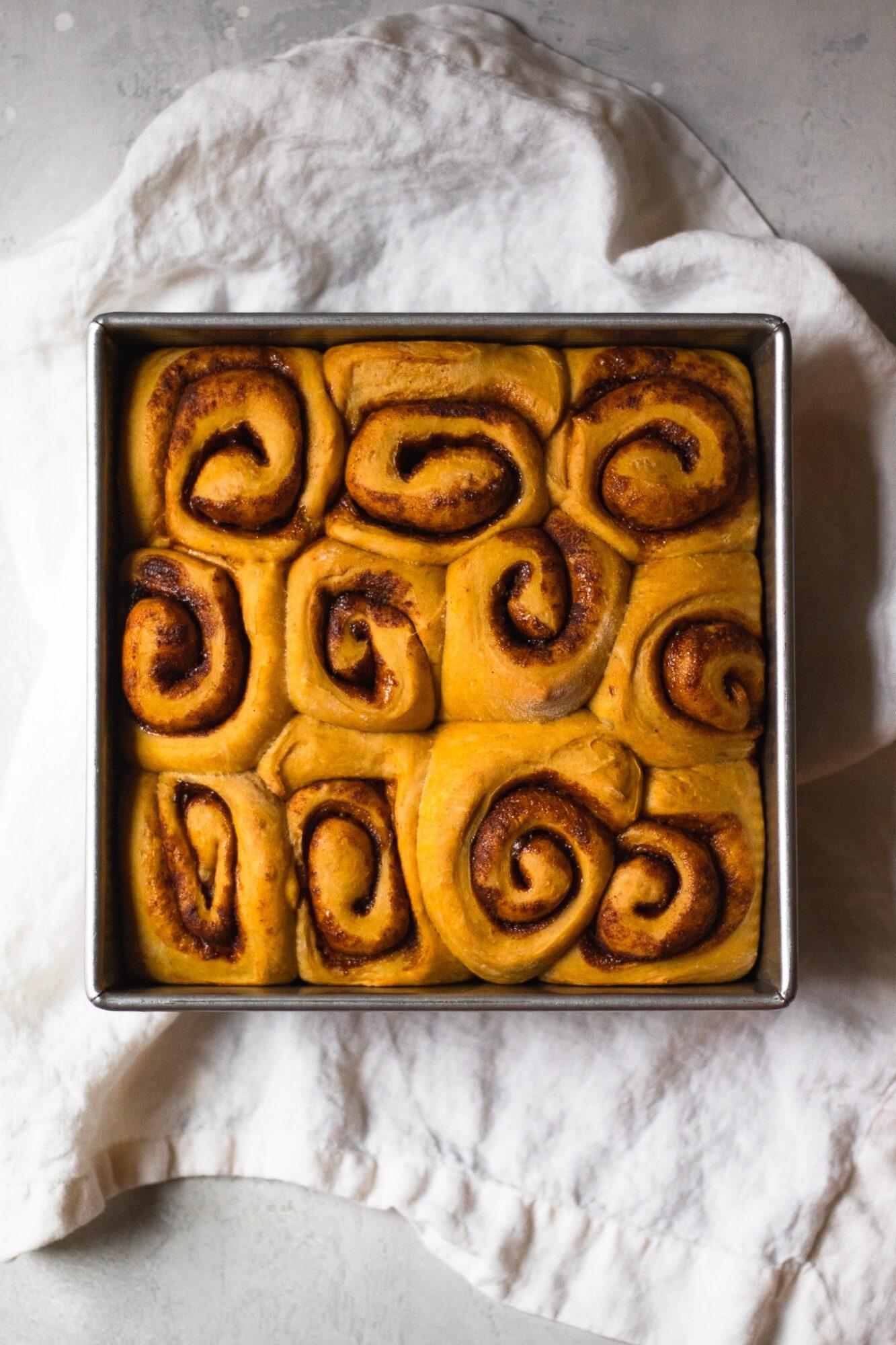 cinnamon rolls after baking
