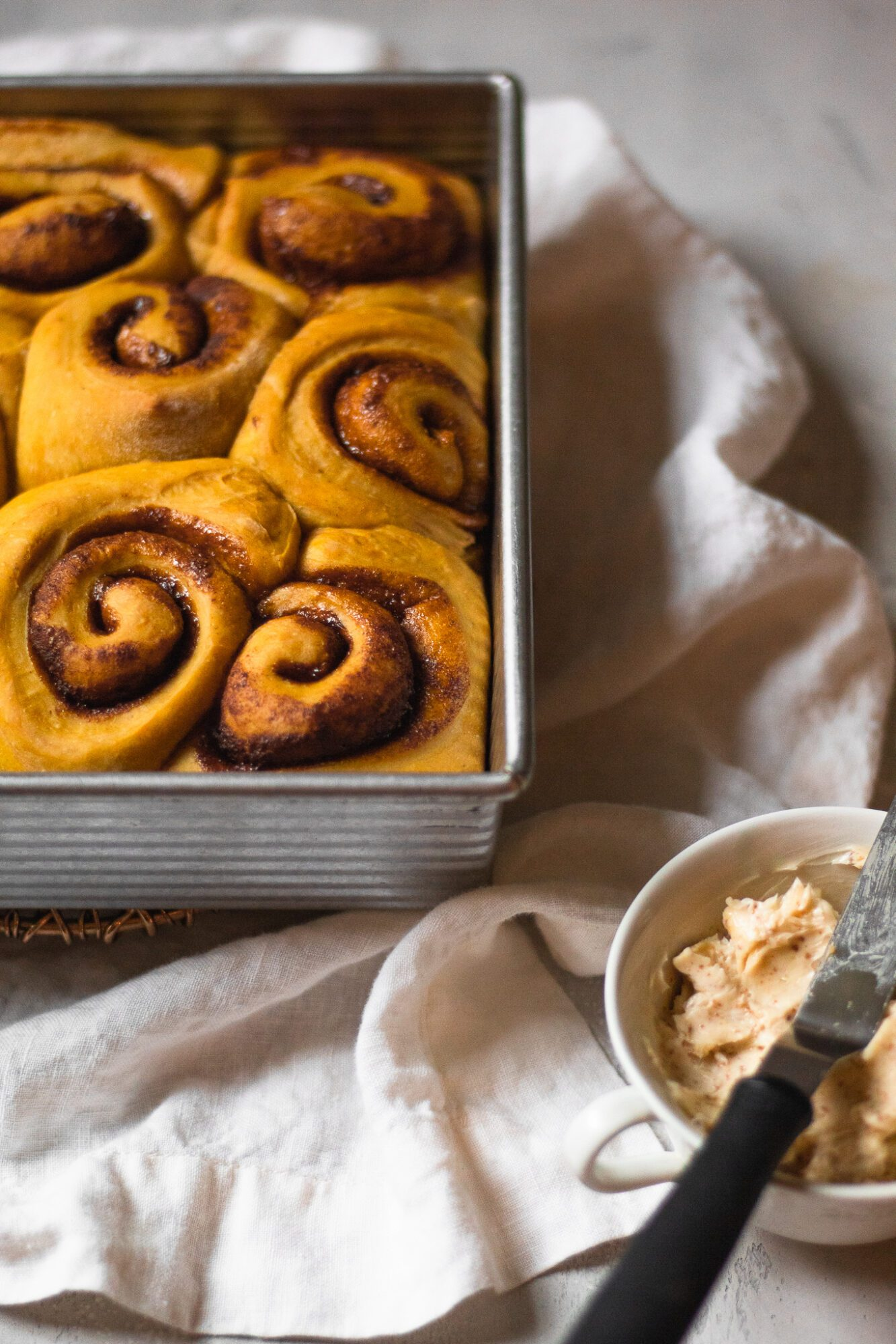 fluffy and baked cinnamon rolls