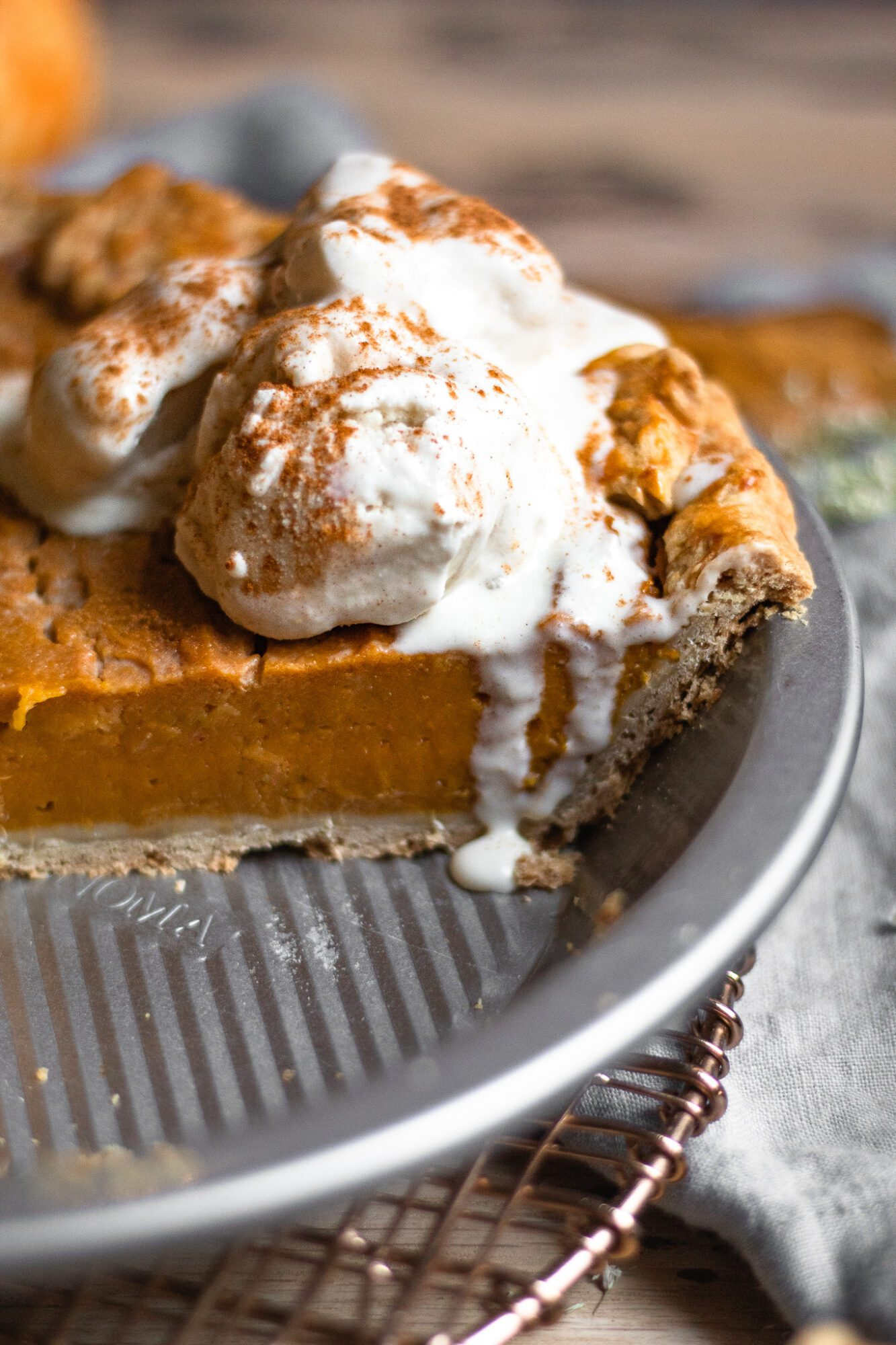 melting ice cream on sweet potato pie