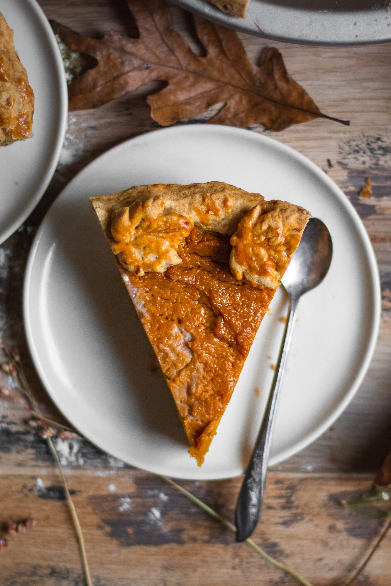 single slice of sweet potato pie