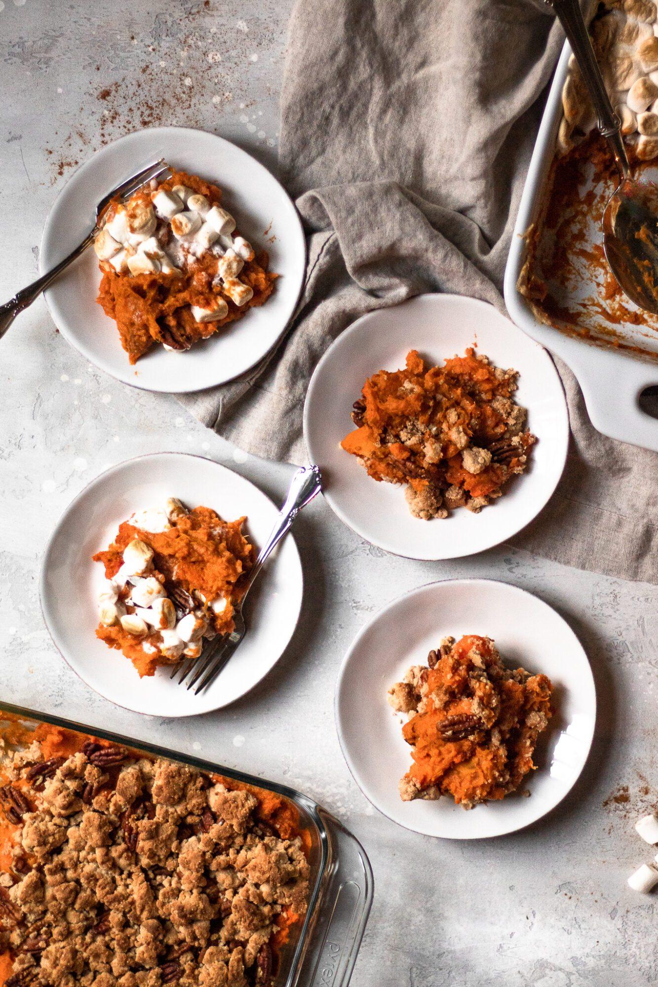 sweet potato casserole on plates