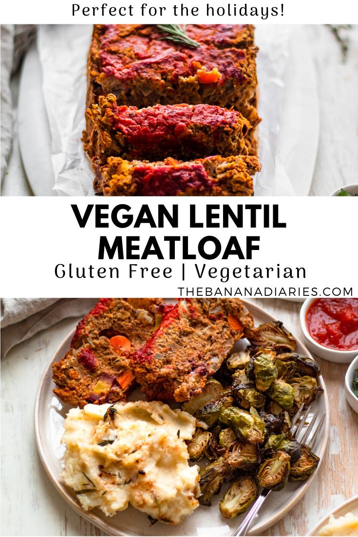pinterest image for vegan lentil loaf