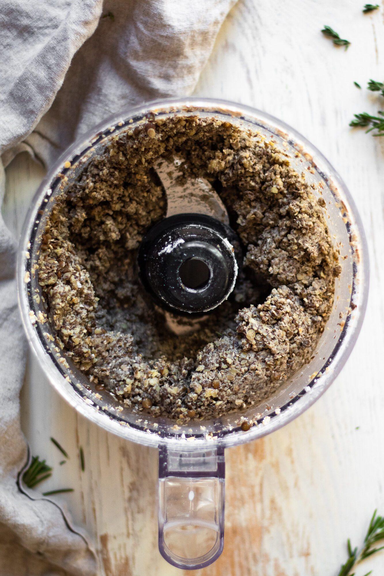pureed lentils in food processor