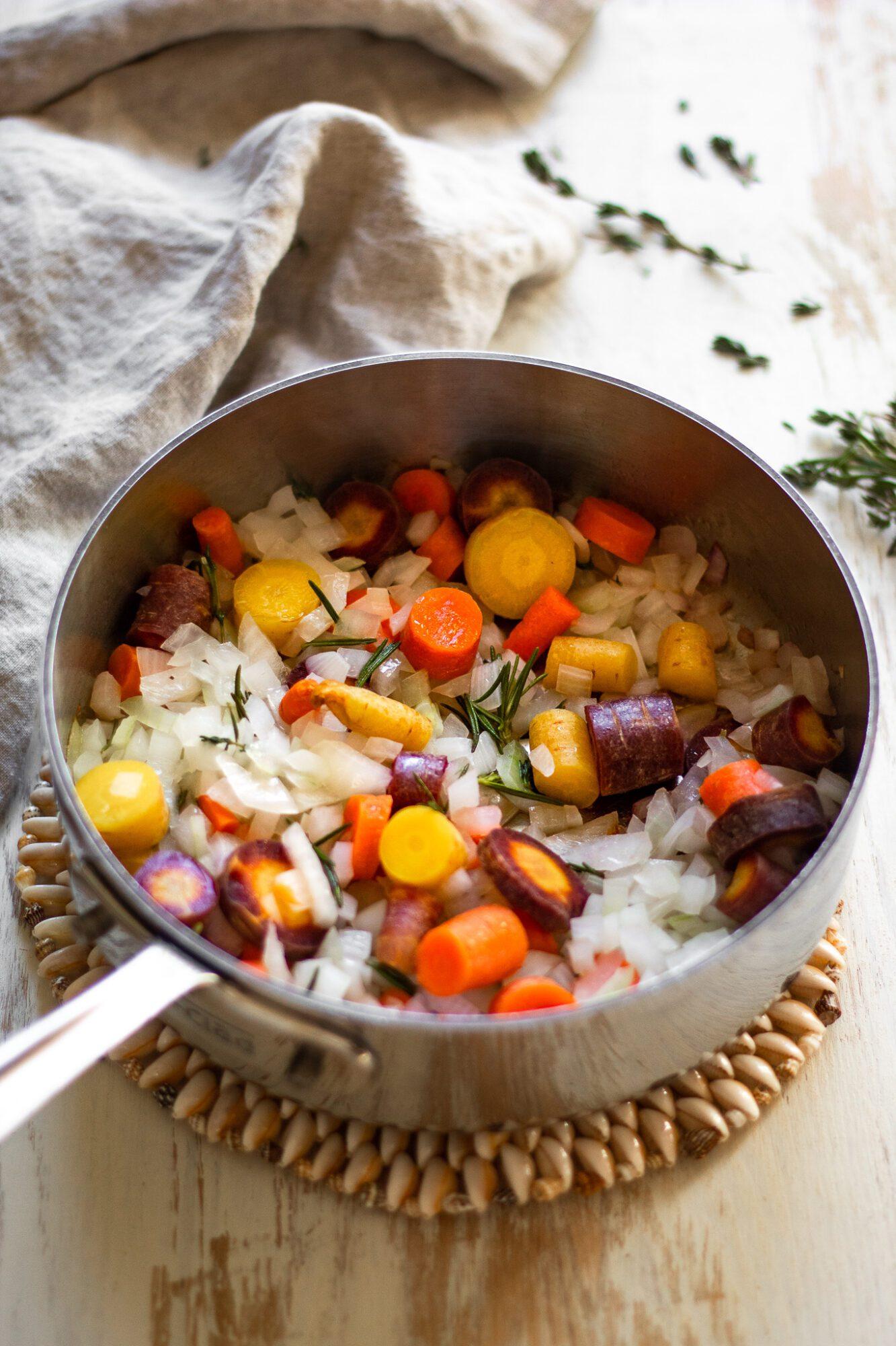 sautéed veggies in pan