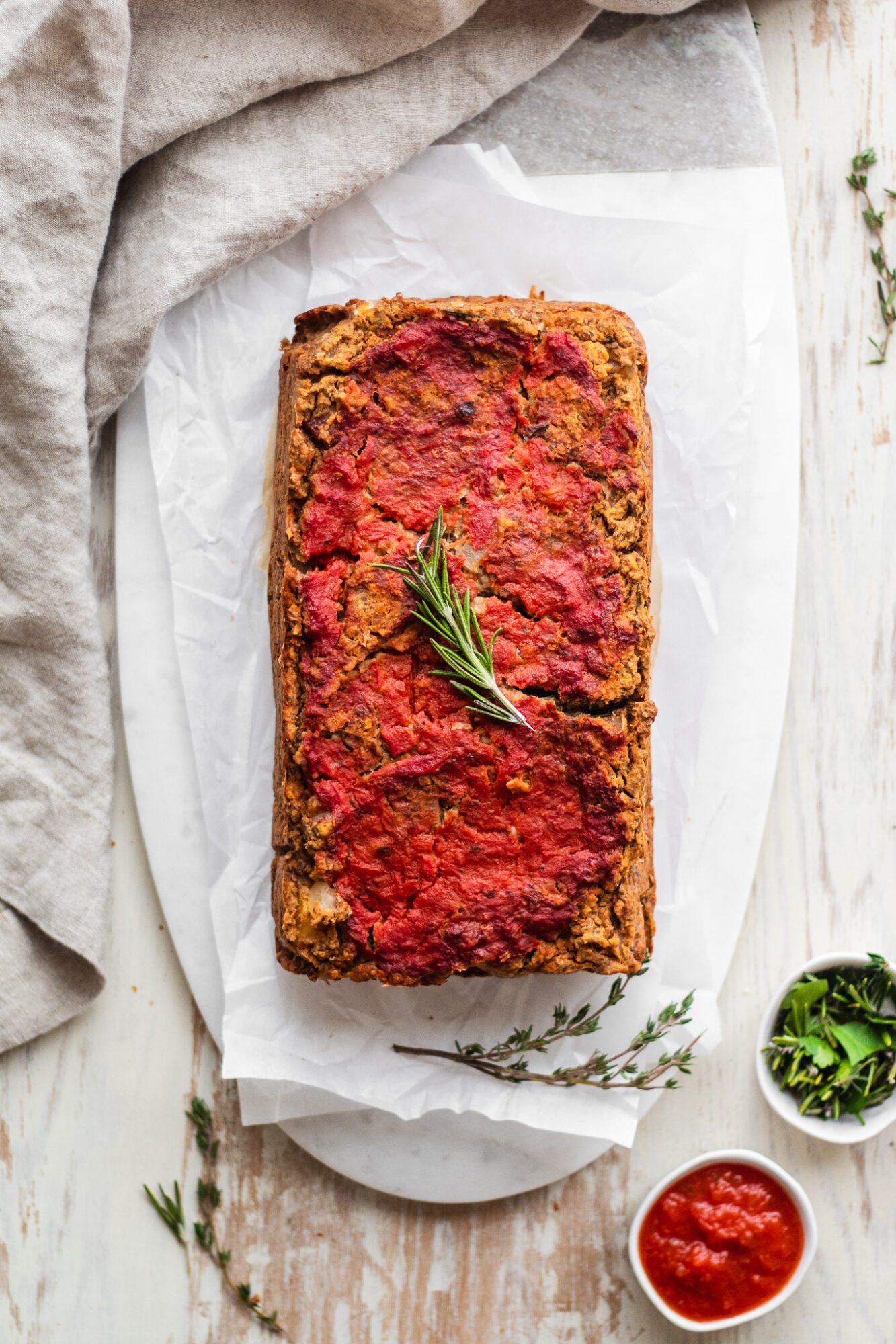 lentil hummus loaf