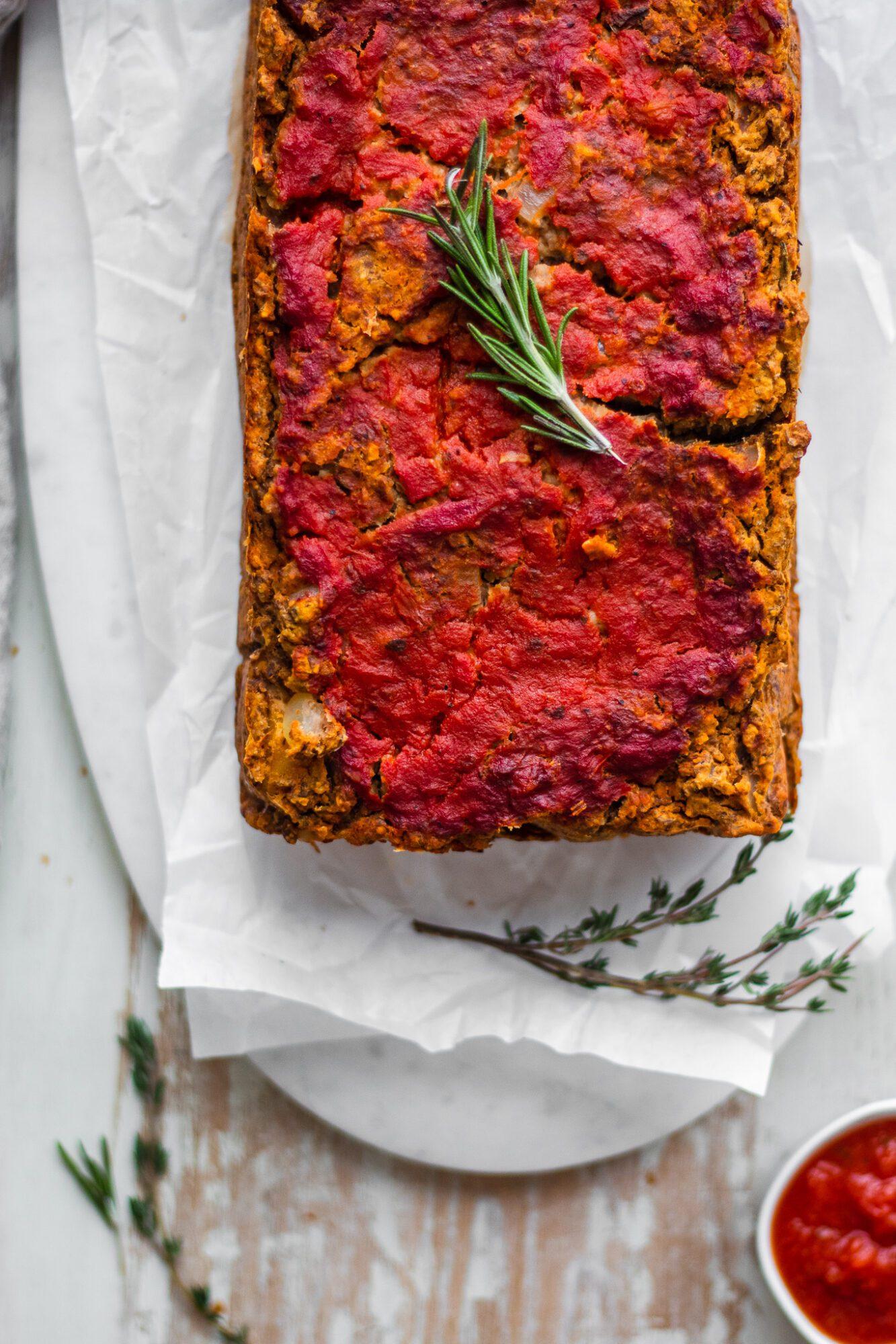 close up of lentil loaf