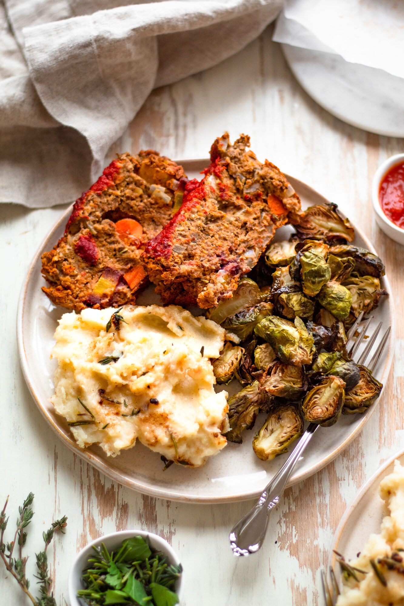 plate of lentil loaf and mashed potatoes