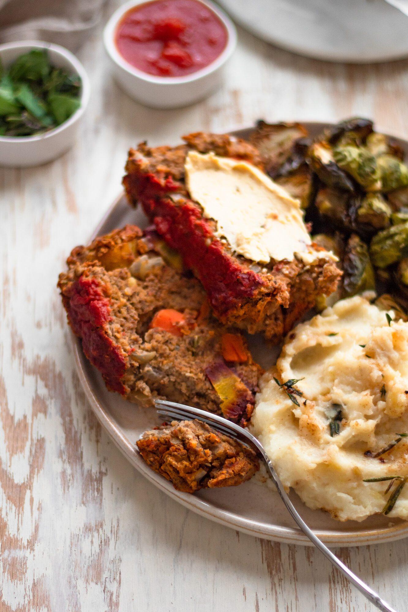 plate with lentil loaf