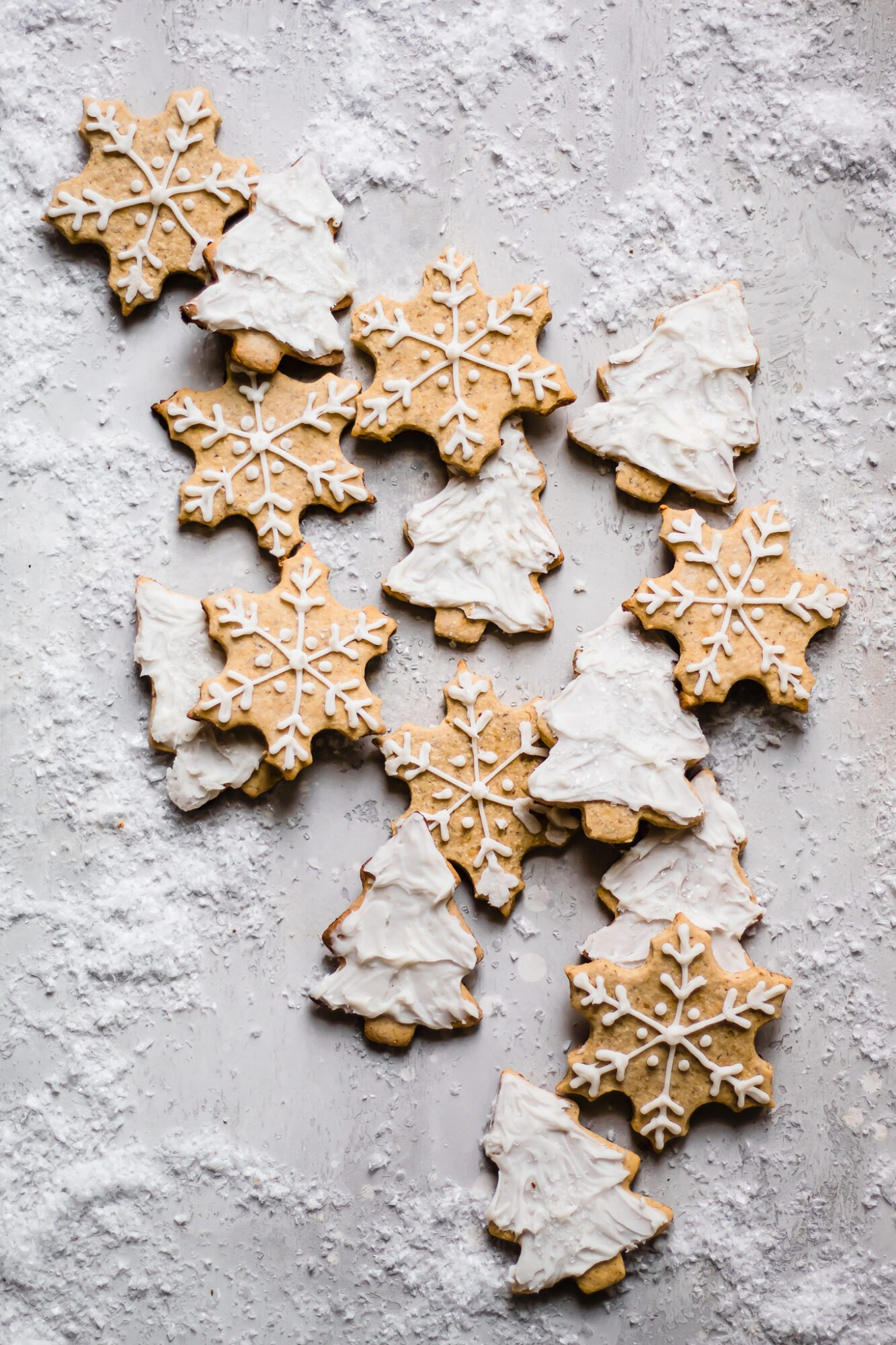 sugar cookie cut outs on fake snow