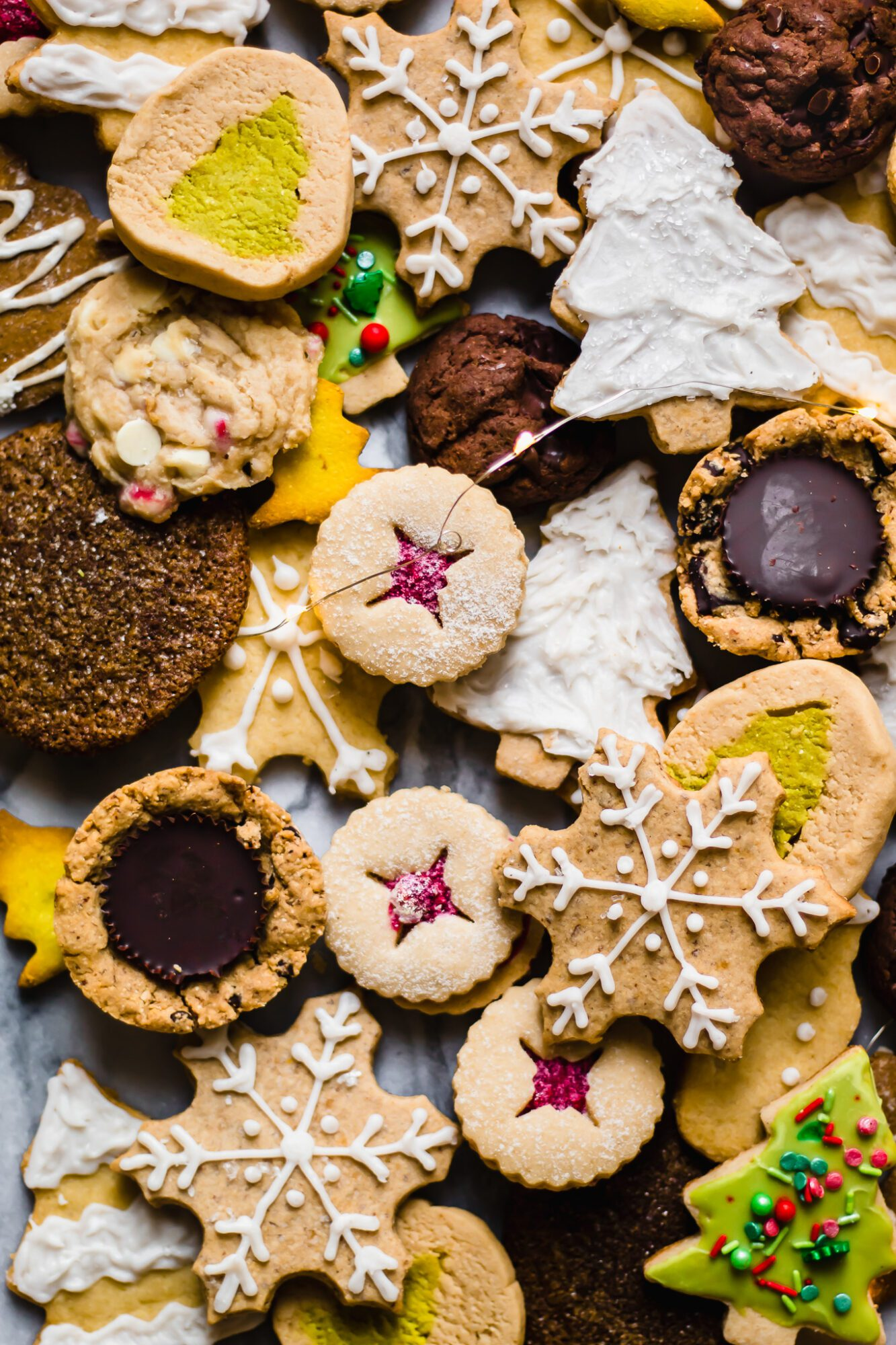 close up of all the christmas cookies