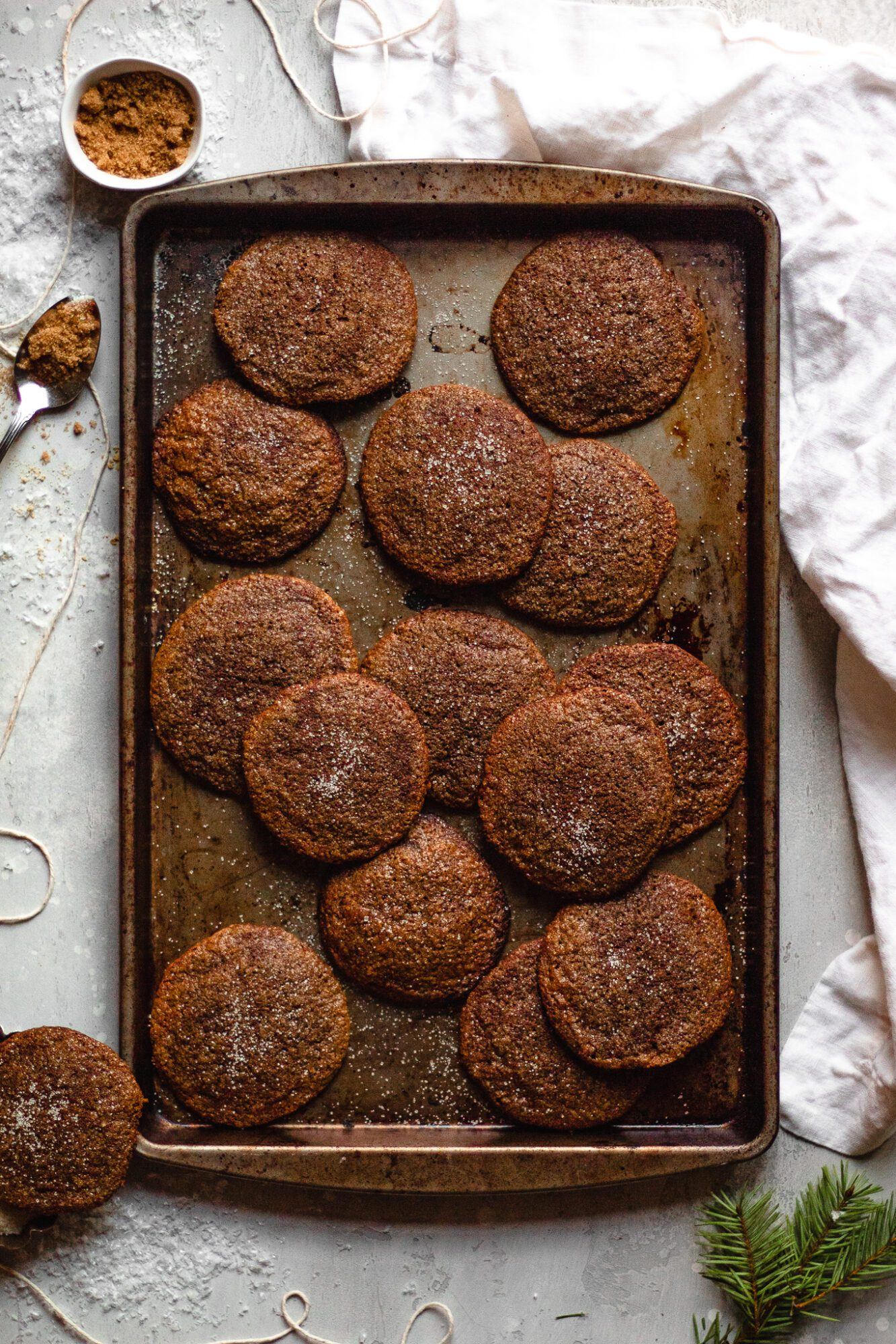 tray of molasses cookies