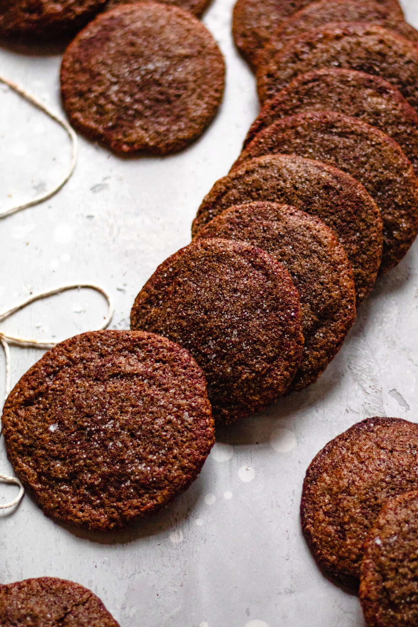 line of ginger molasses cookies