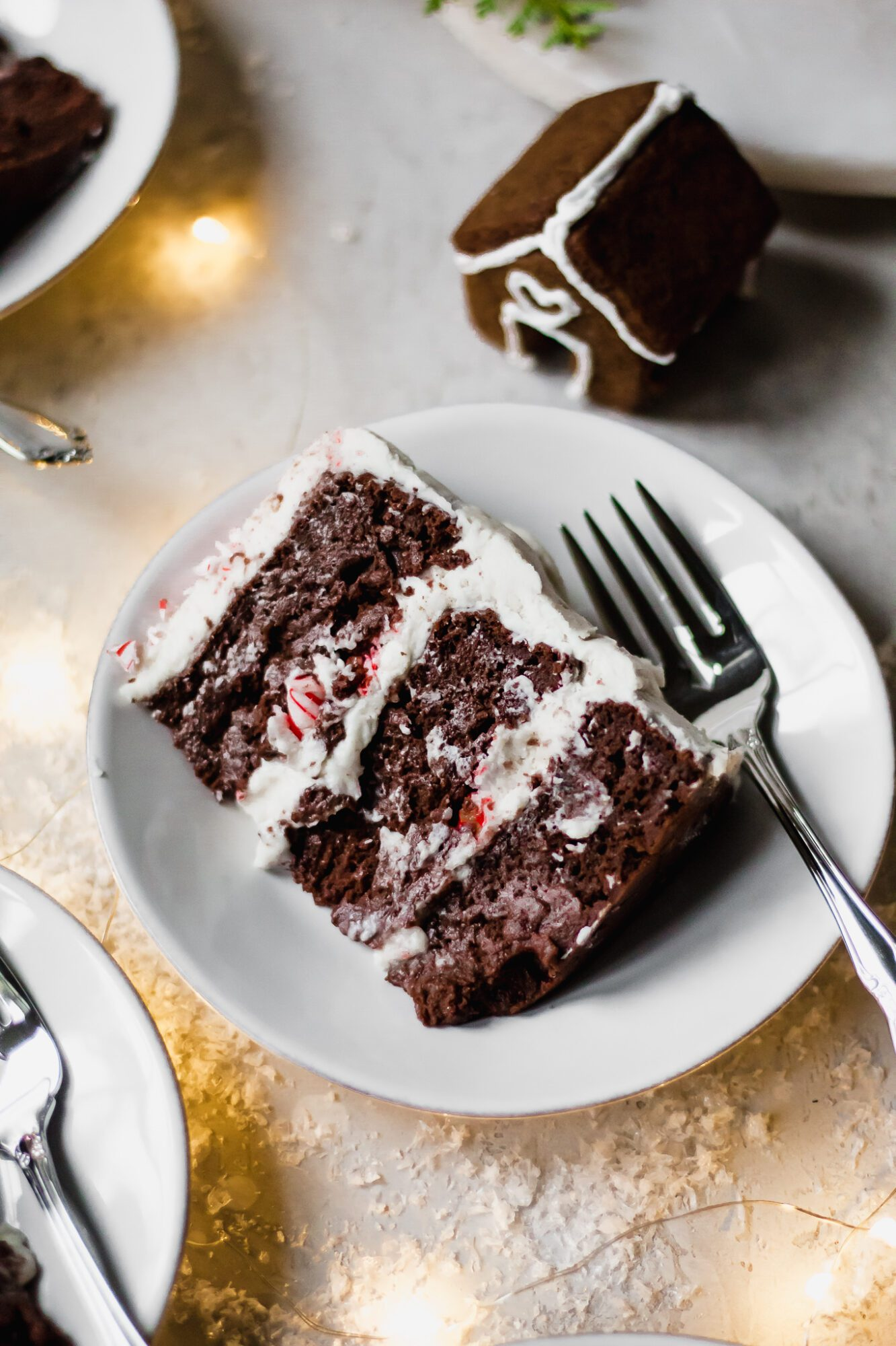 slice of chocolate peppermint cake