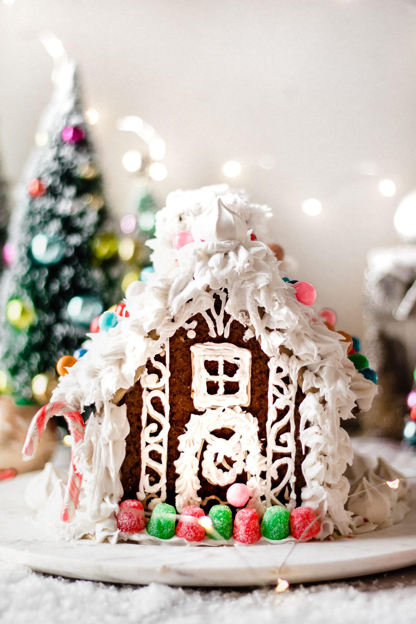 front of vegan gingerbread house