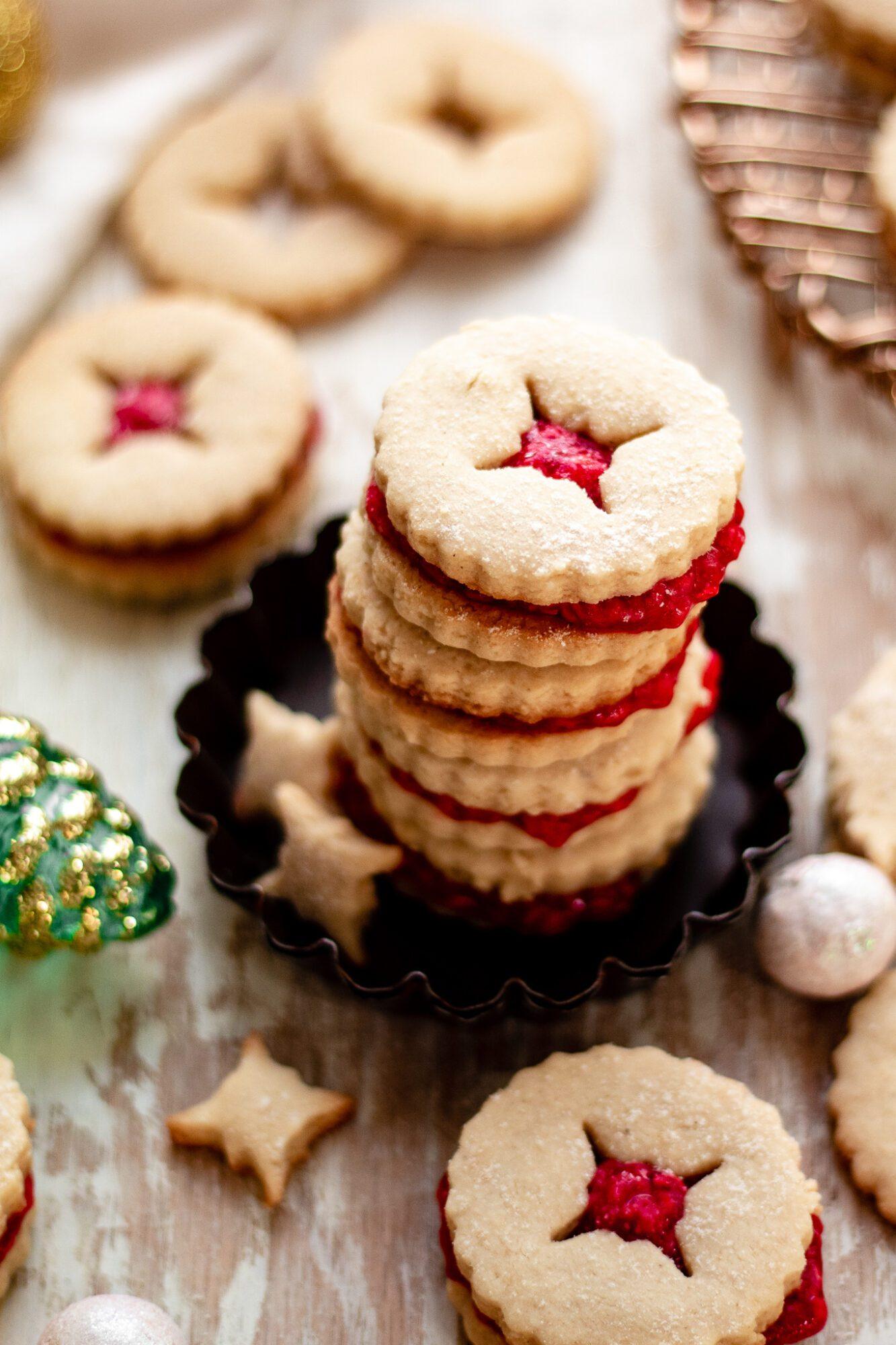 stack of linzer cookies